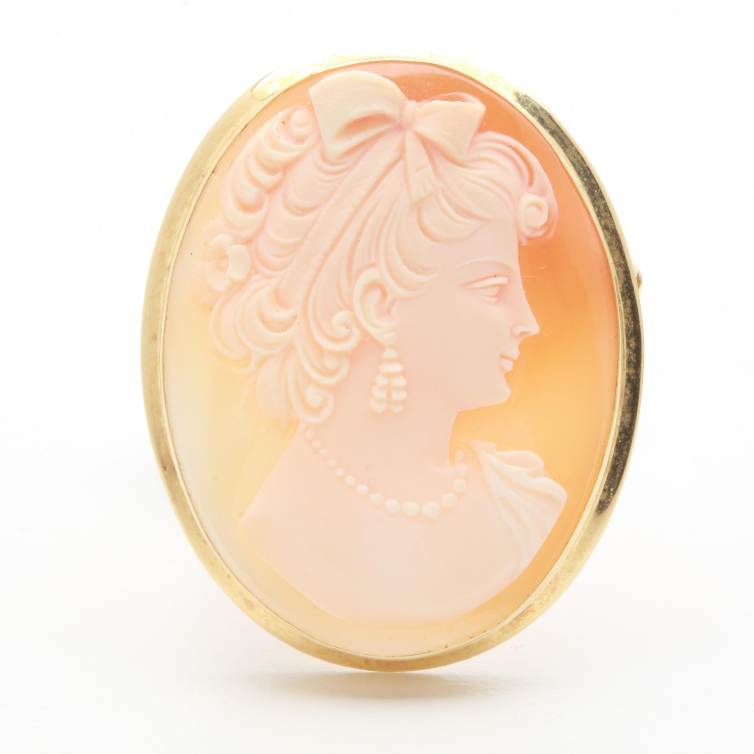 18K Yellow Gold Helmet Shell Cameo Converter Brooch