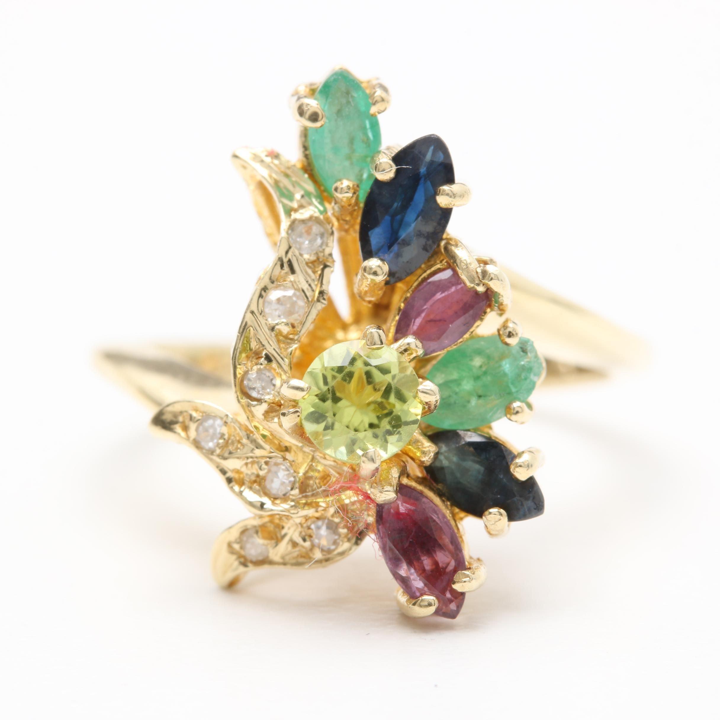 14K Yellow Gold Peridot, Diamond, Ruby, Sapphire, and Emerald Ring