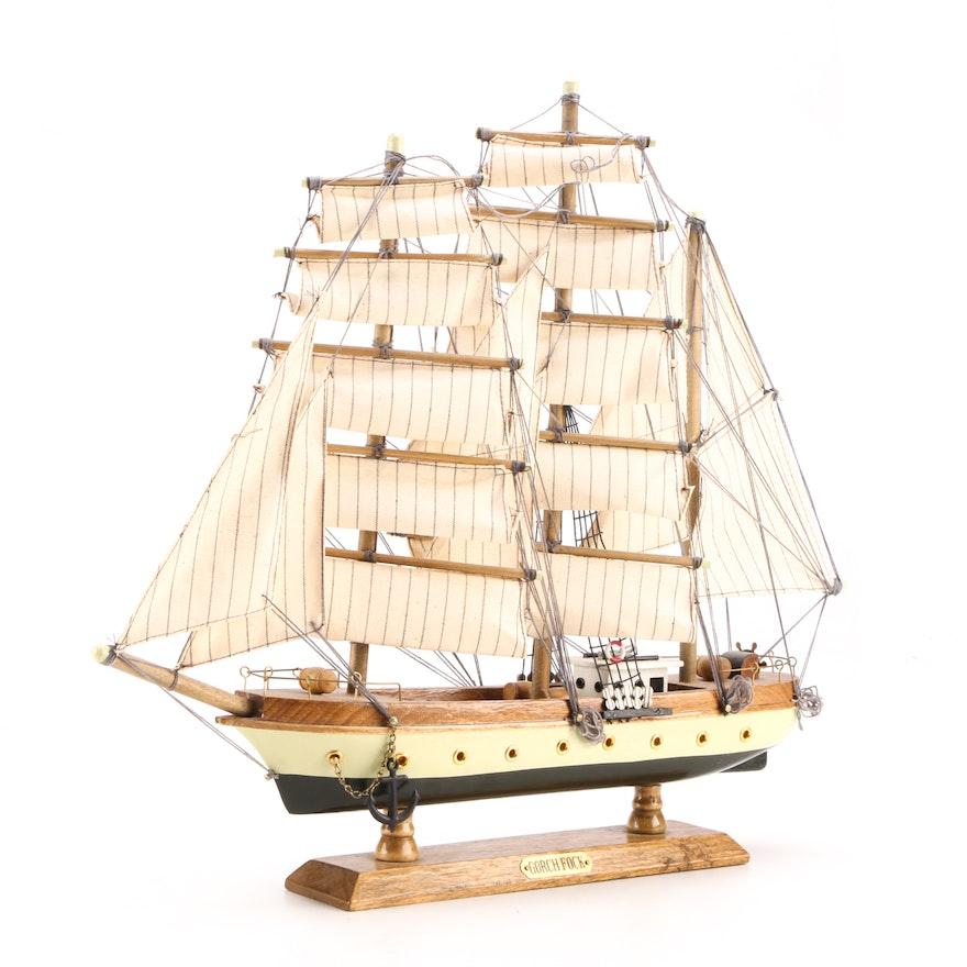 Vintage Wood Model Ship Gorch Fock Assembled