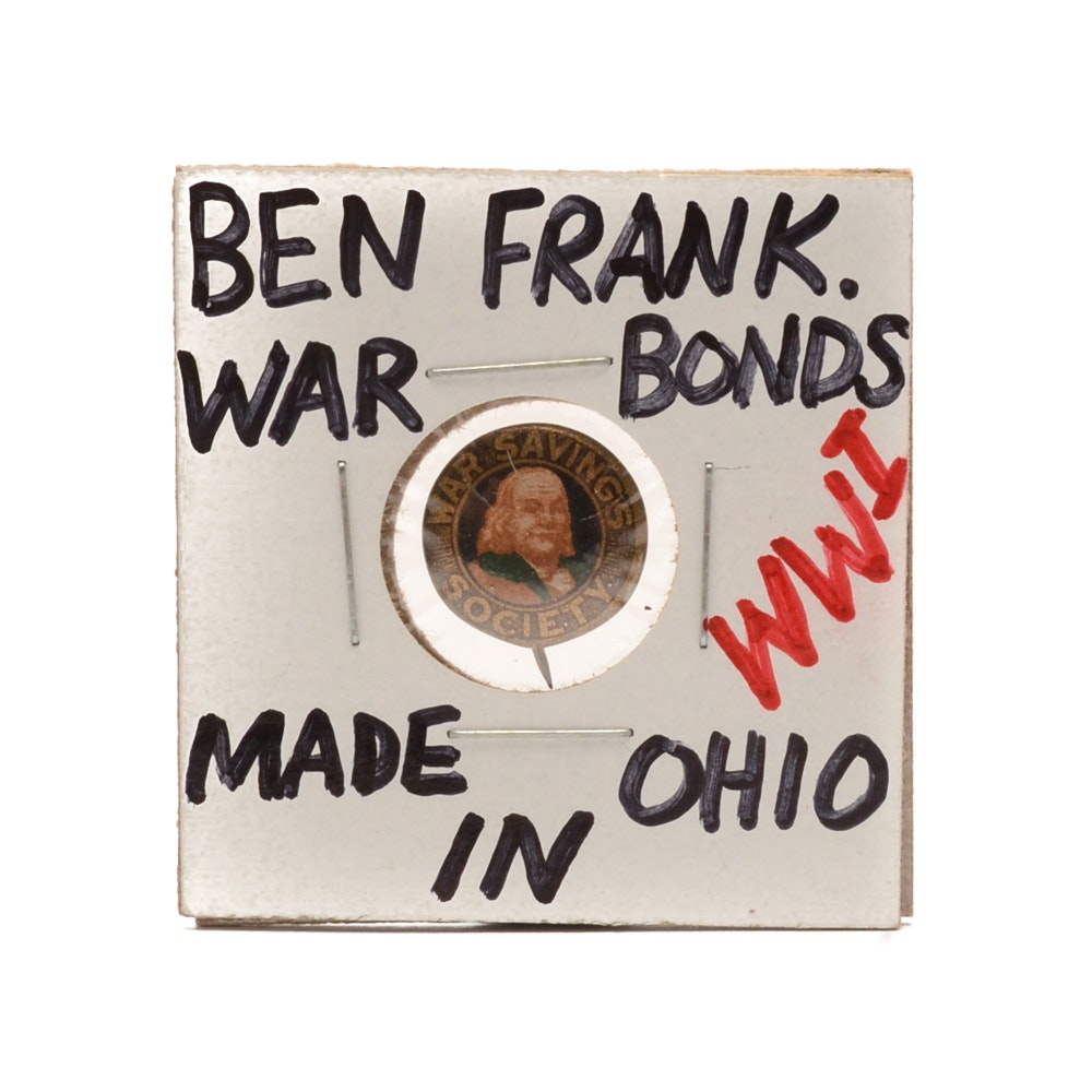 World War I Ben Franklin War Savings Society Ohio Pinback