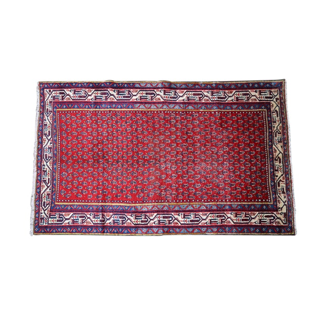 Hand-Knotted Persian Serabend Sarouk Wool Area Rug