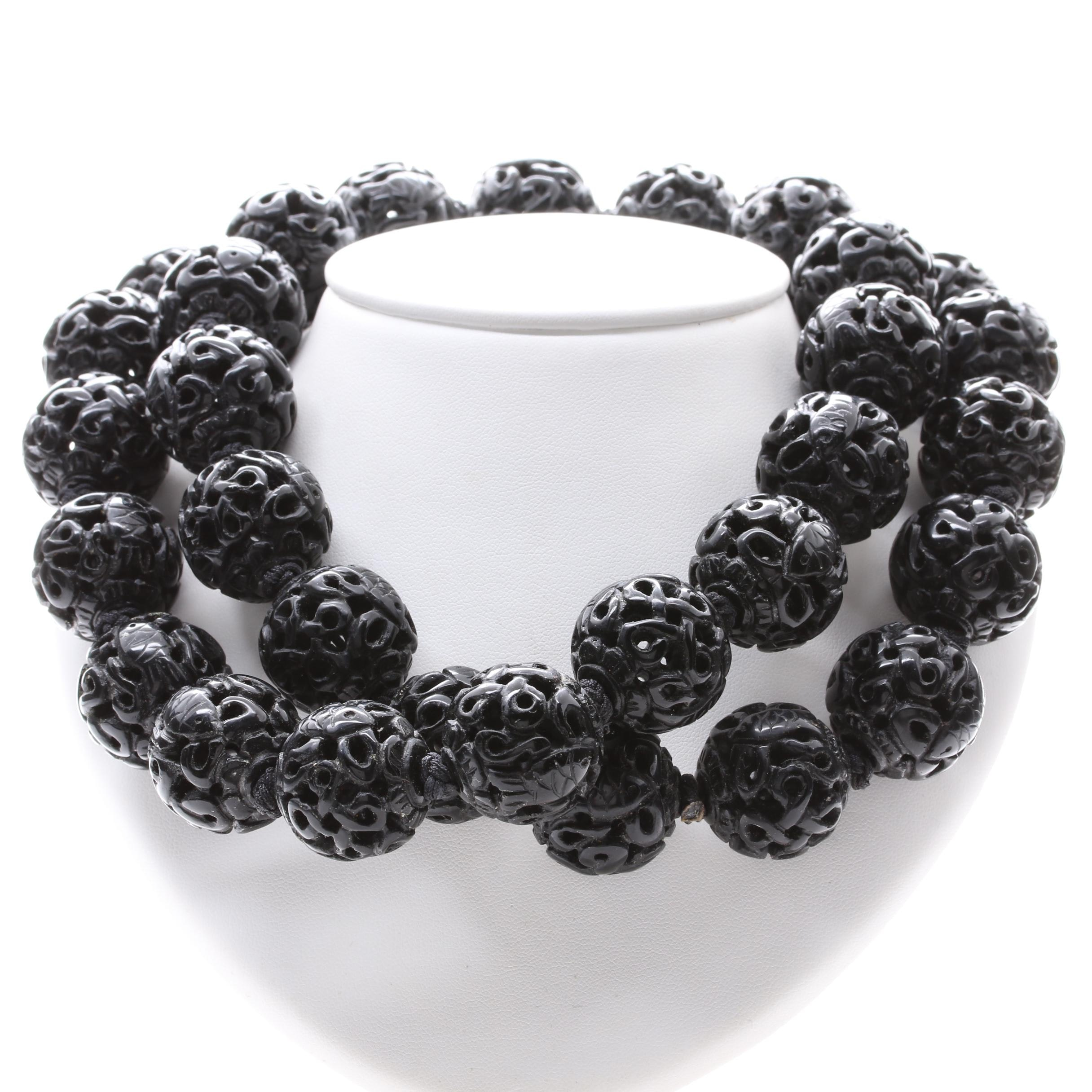 Carved Black Onyx Beaded Necklace