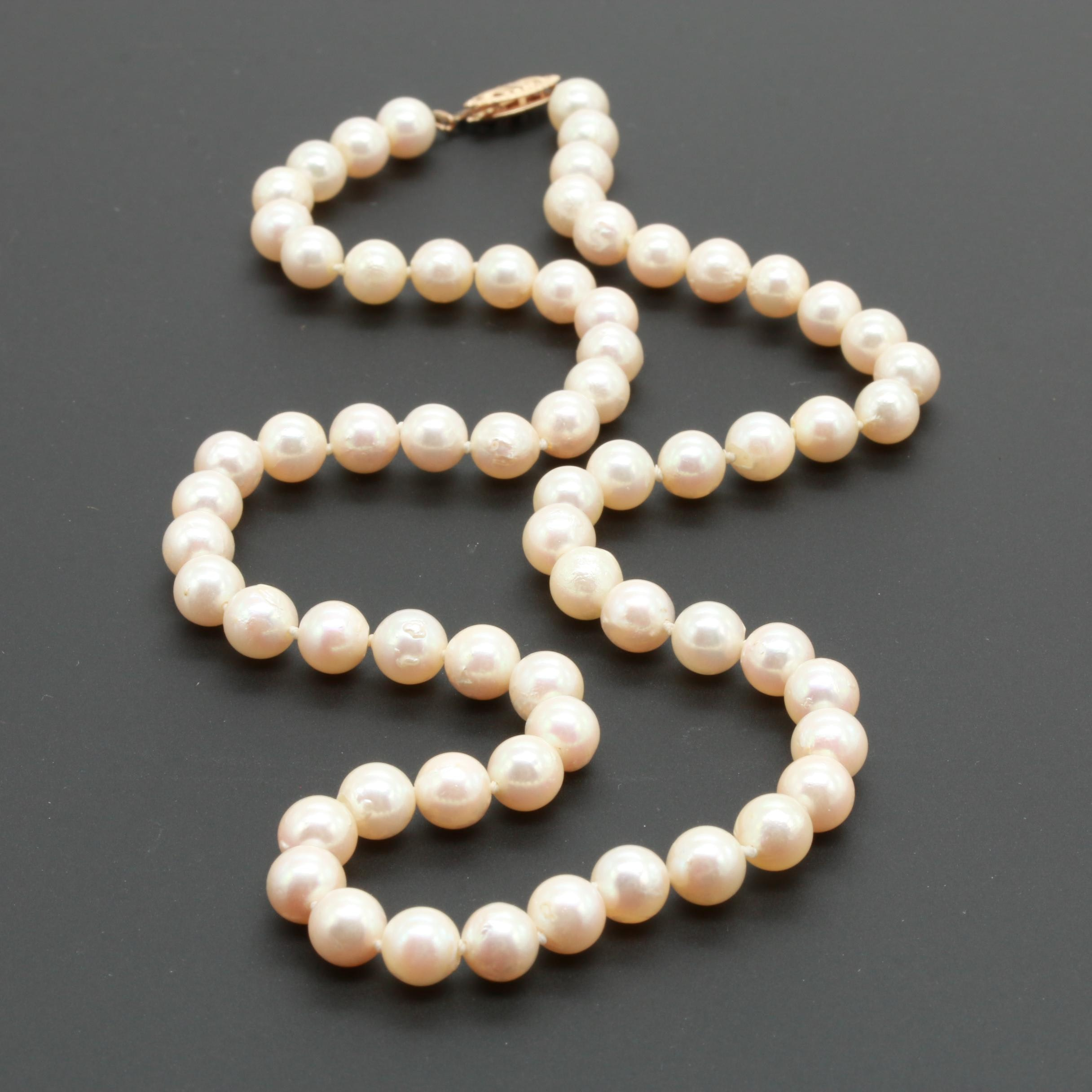 14K Yellow Gold Cultured Pearl Single Strand Necklace