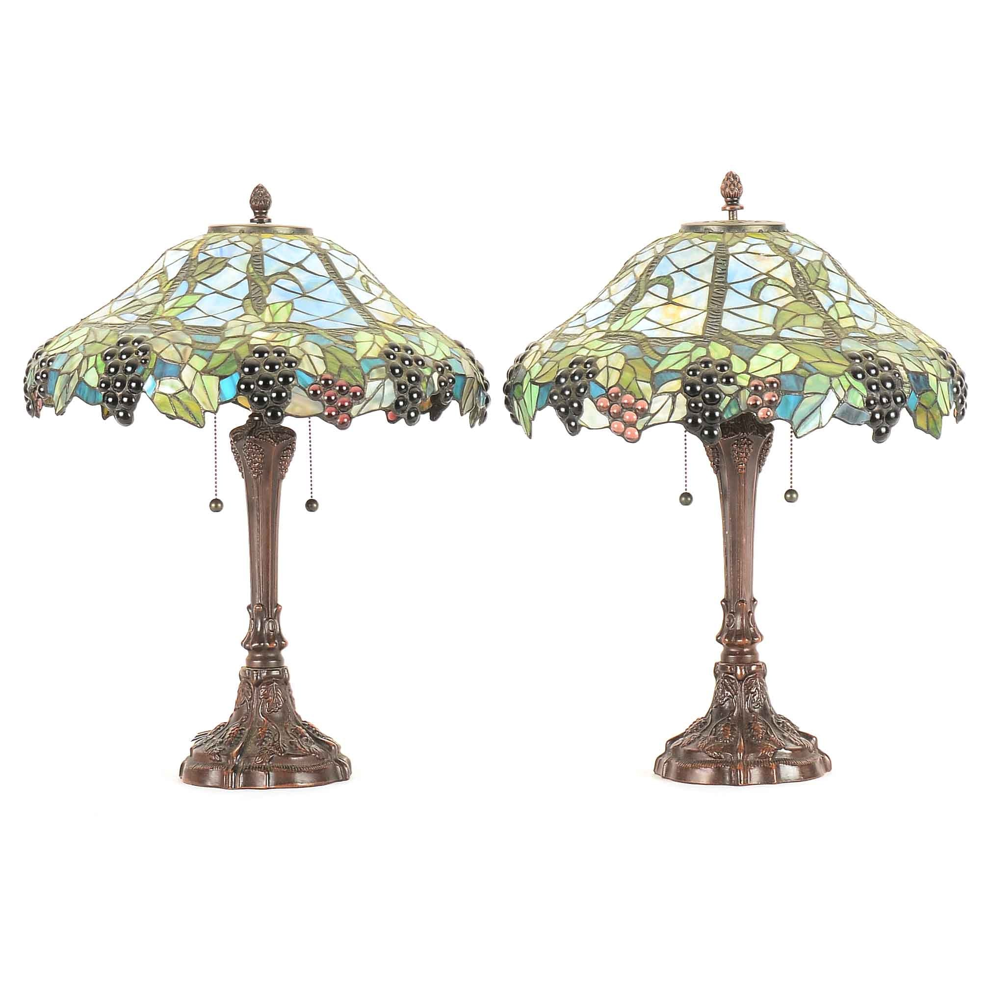 Pair of Faux Stain Glass Table Lamps