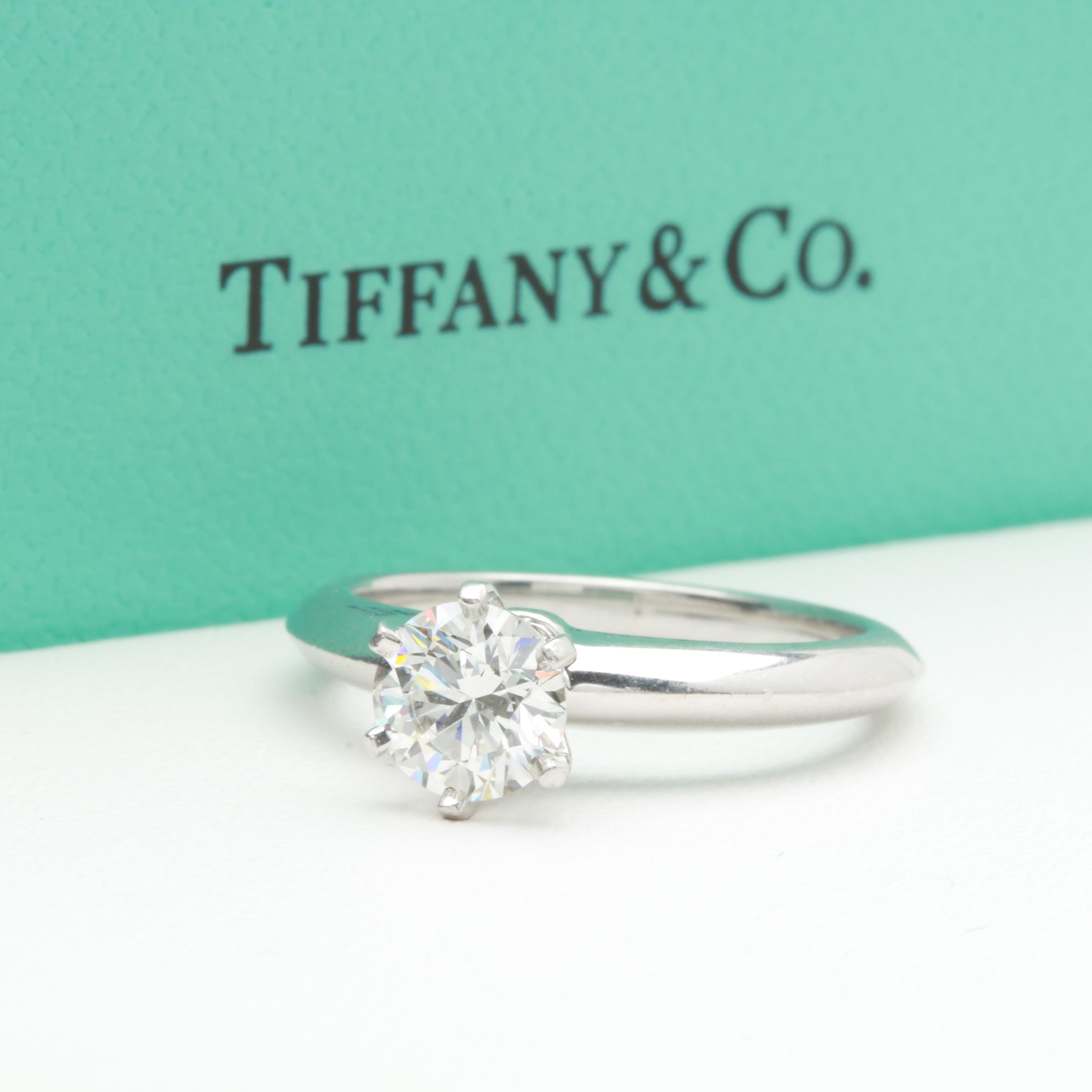 Tiffany & Co. Platinum Diamond Solitaire Ring With Certification and Box