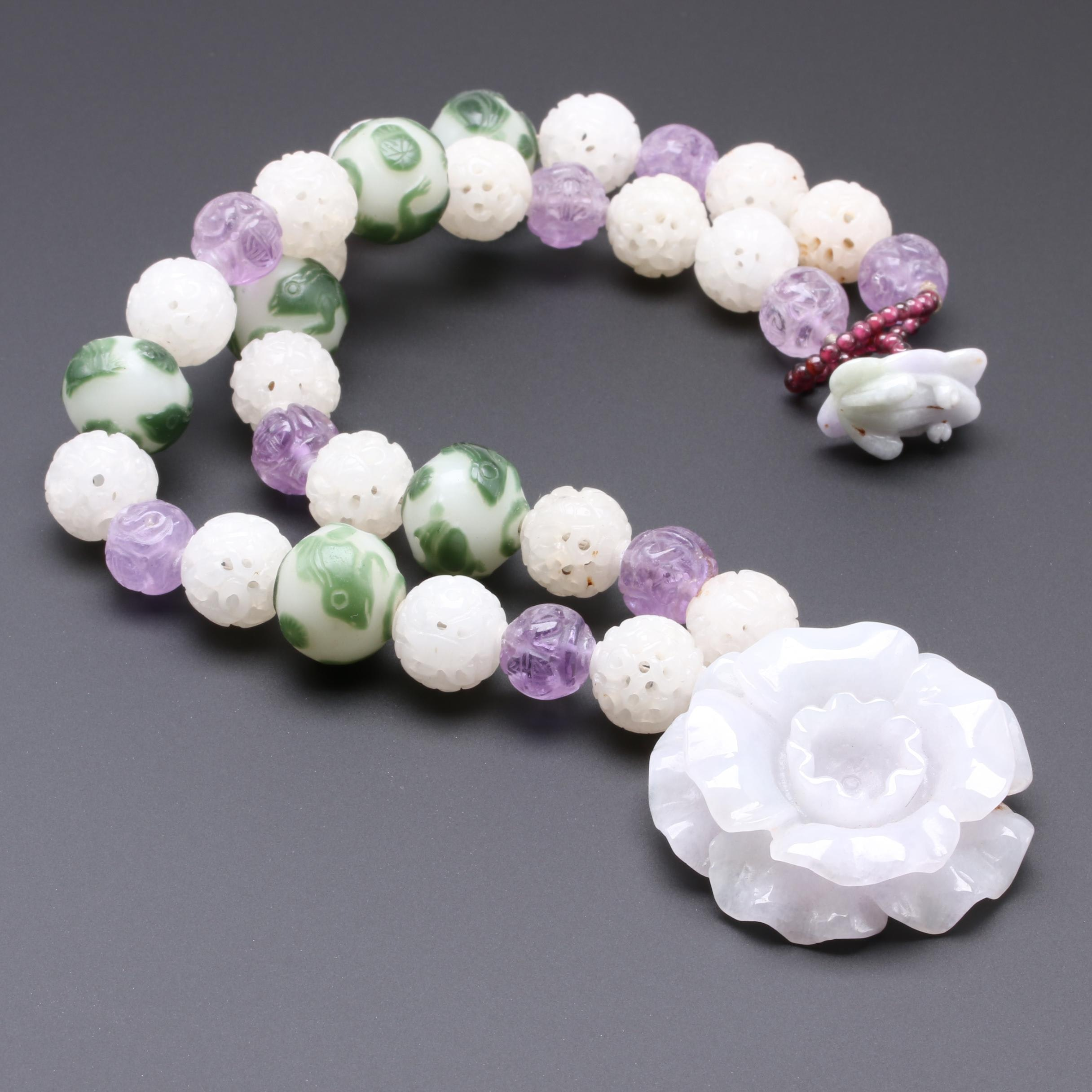 Carved Lavender Jadeite, Amethyst, and Bowenite Flower Necklace