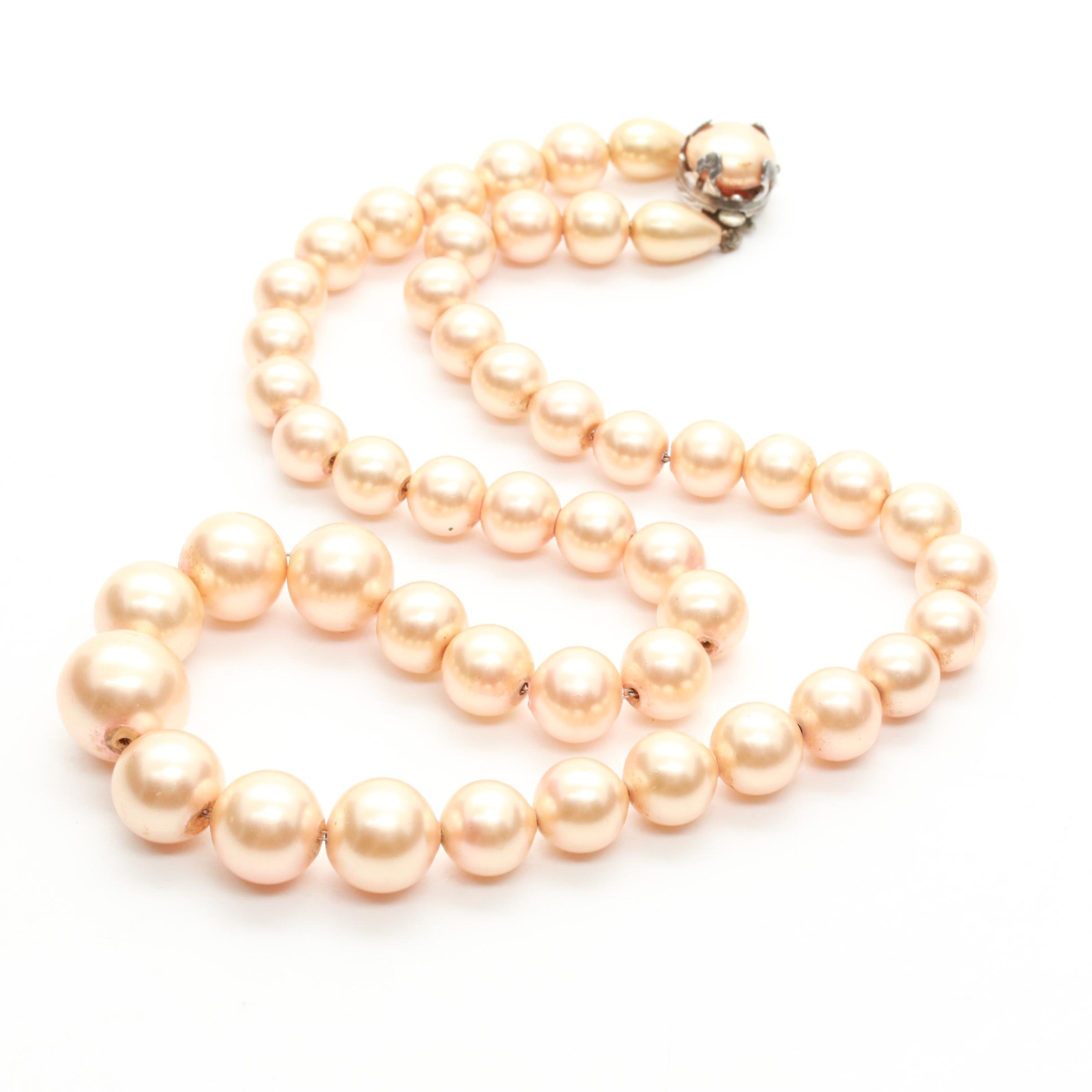 Sterling Silver Imitation Pearl Single Strand Necklace