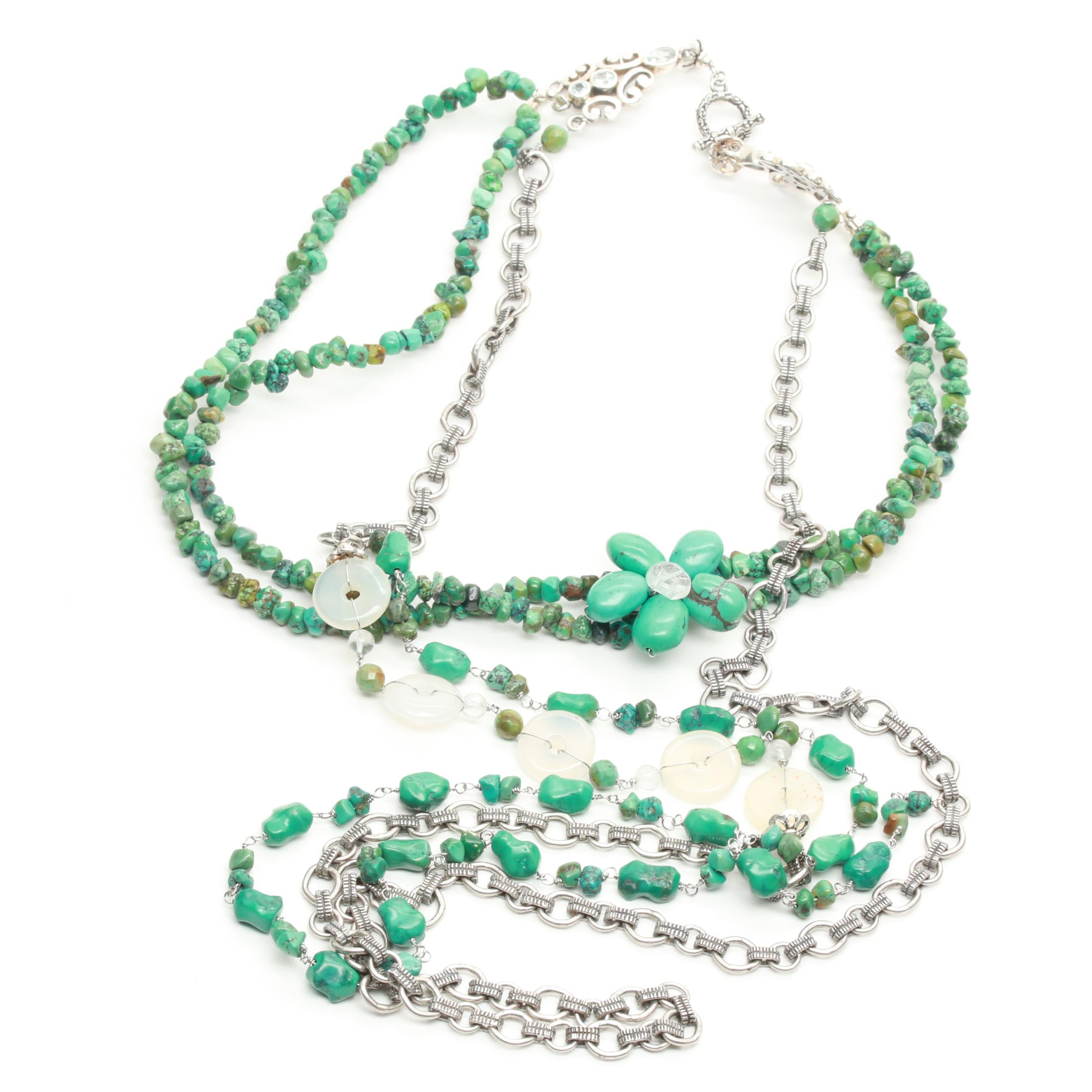 Sterling Silver Blue Topaz, Turquoise, and Chalcedony Necklace