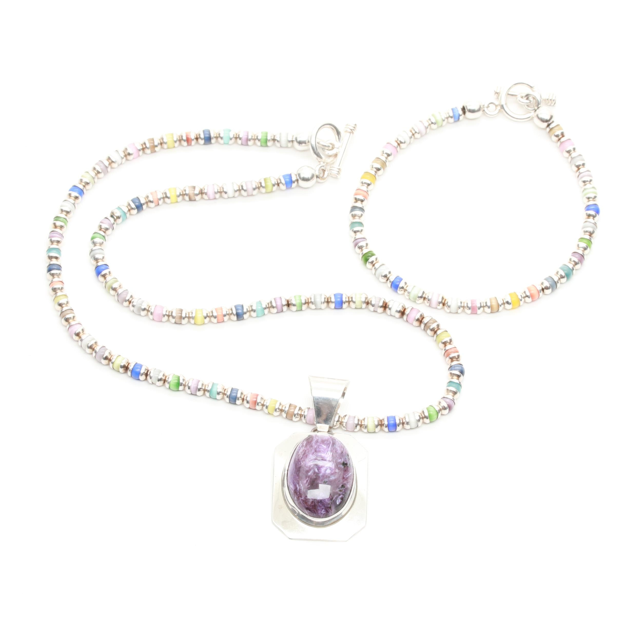 Matching Sterling Silver Glass and Charoite Necklace and Bracelet
