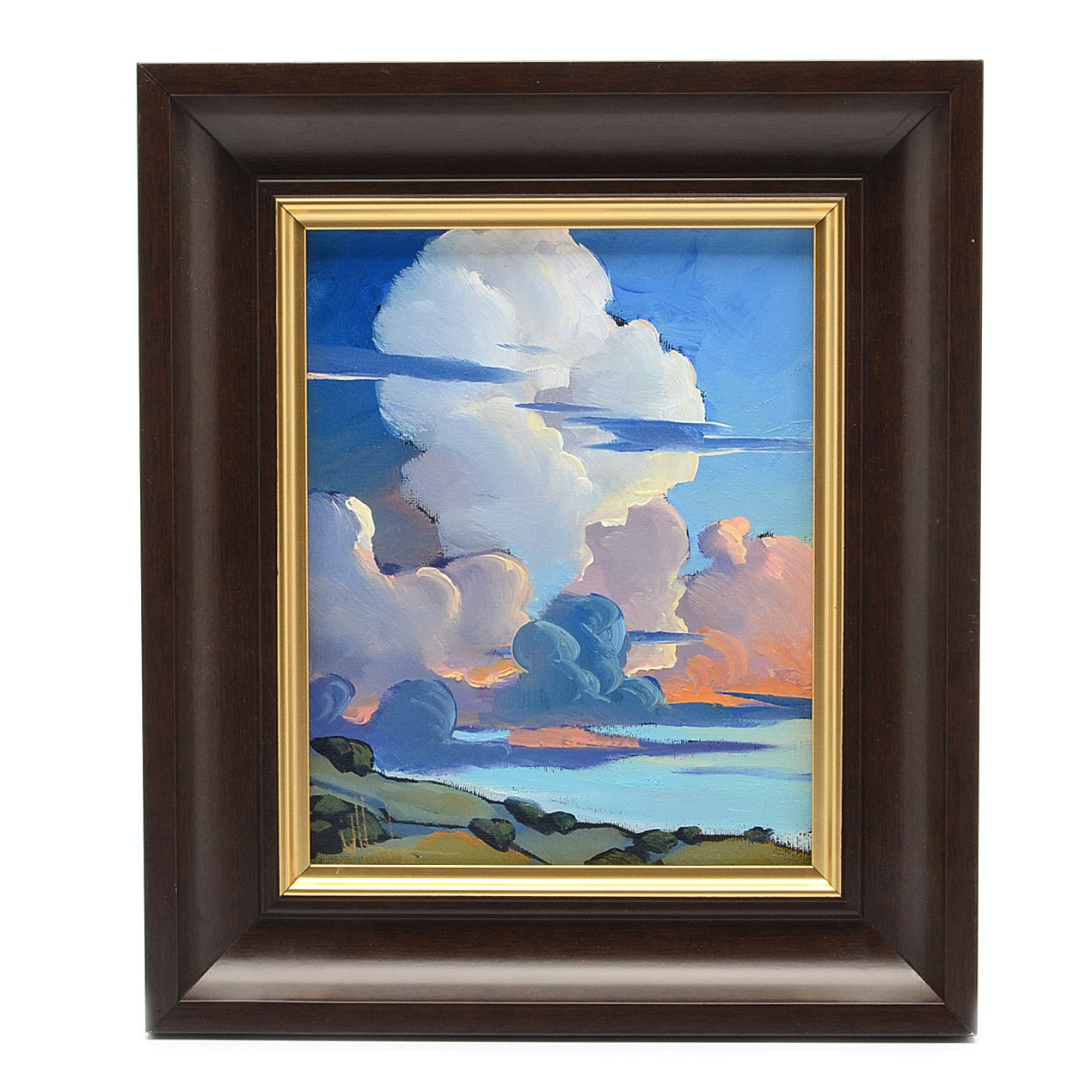 William Hawkins Oil Painting on Canvas Board of Dramatic Sky