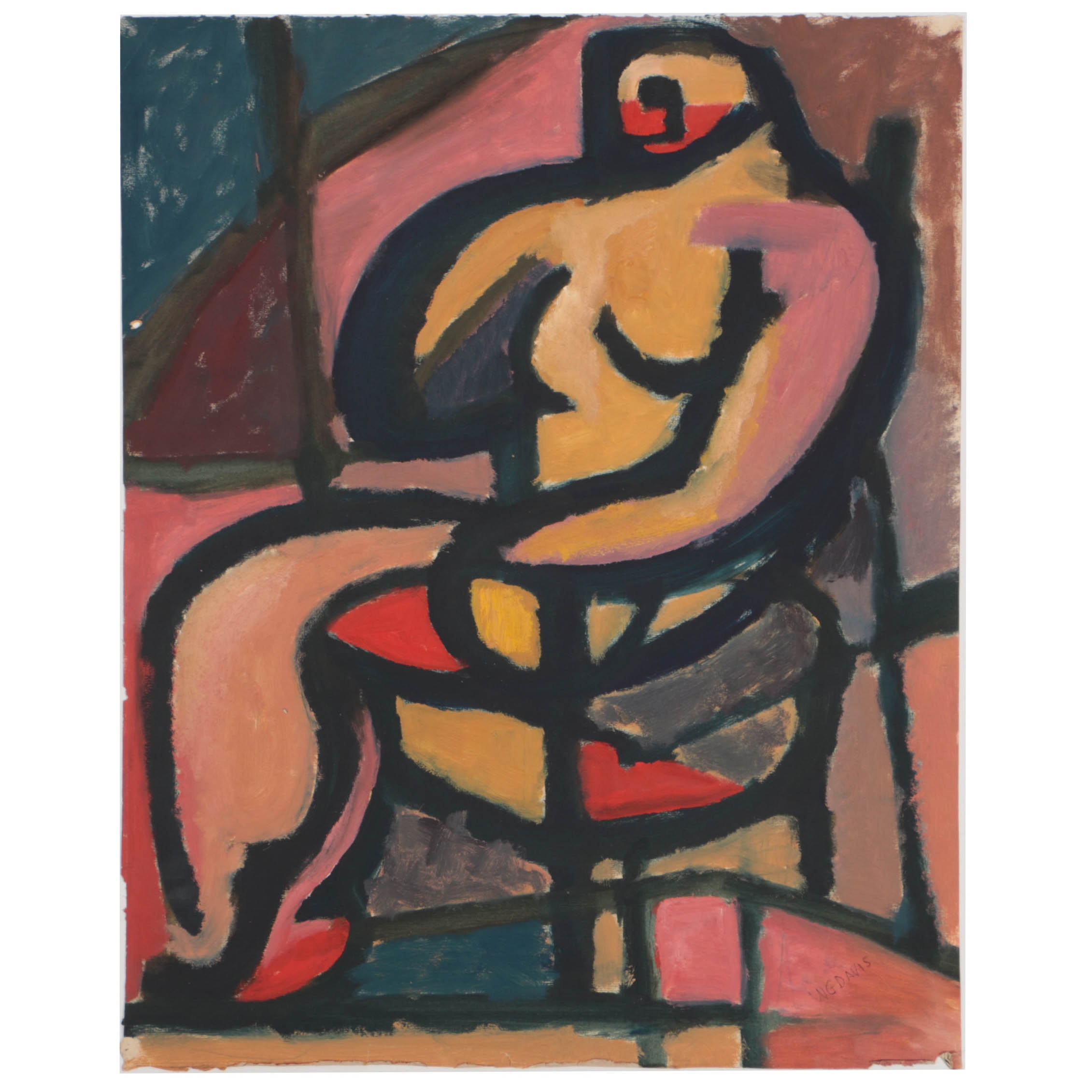W. Glen Davis Gouache Painting on Paper of Abstract Seated Figure