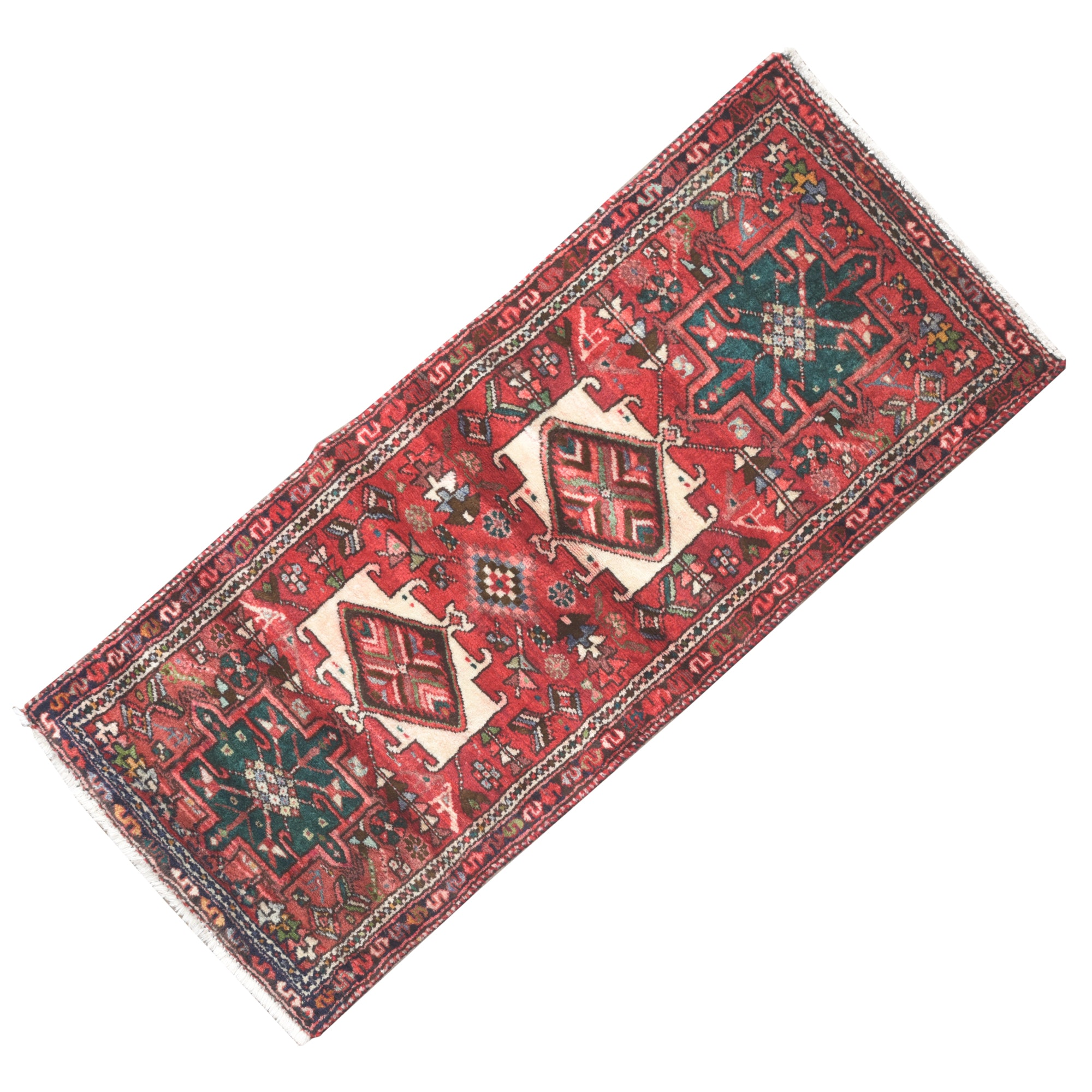 Hand-Knotted Persian Heriz Wool Accent Rug