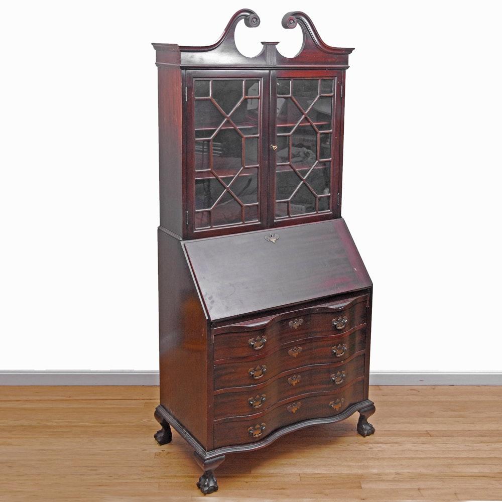 Vintage Mahogany Chippendale Style Secretary Desk by Maddox Table Company