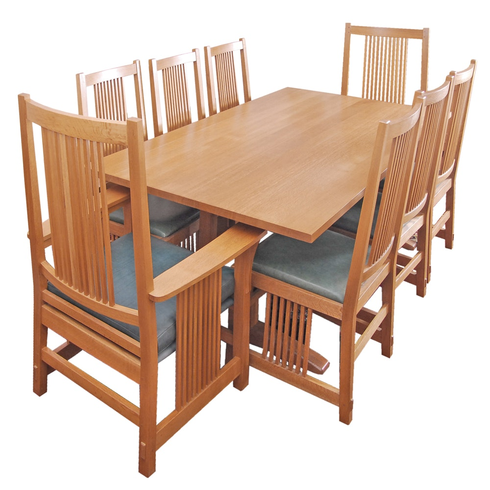 Stickley Dining Table and Eight Spindle Chairs