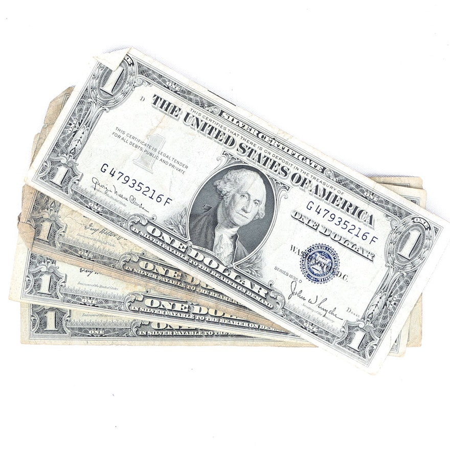 Series 1935-D and 1935-E $1 US Silver Certificates : EBTH