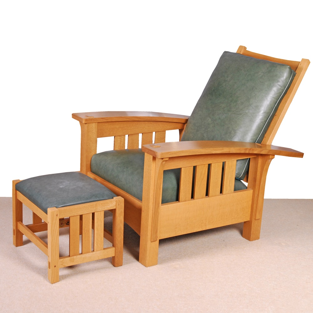 """Stickely """"Bow Arm Morris"""" Recliner and Footstool"""
