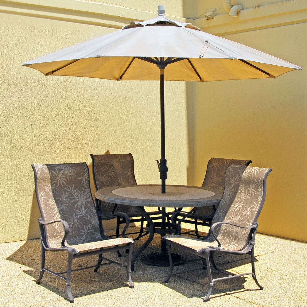 Tropitone Patio Chairs, Treasure Garden Umbrella and Patio Table