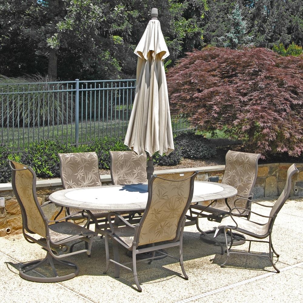 Tropitone Patio Chairs, Treasure Garden Umbrella and Patio Table