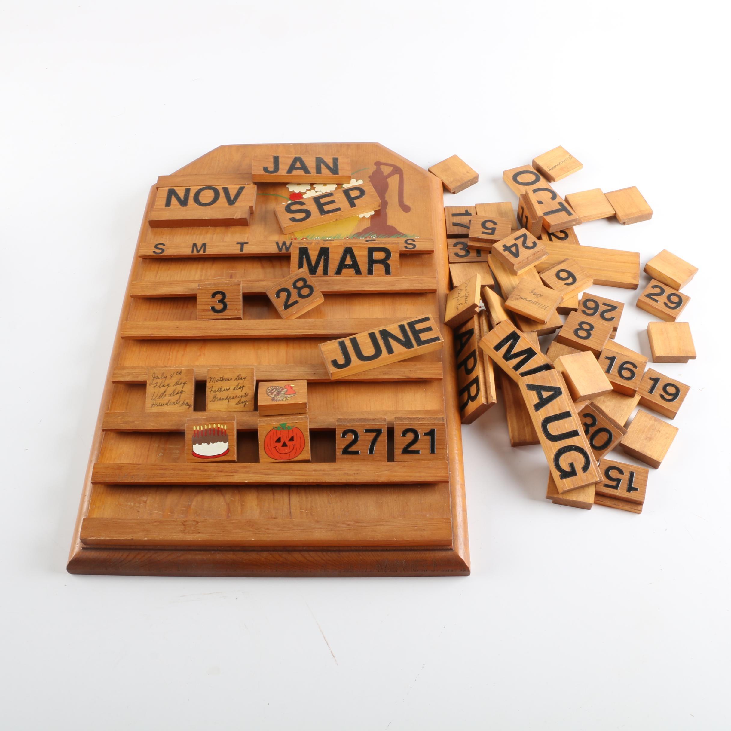 Wooden Perpetual Wall Calendar Ebth