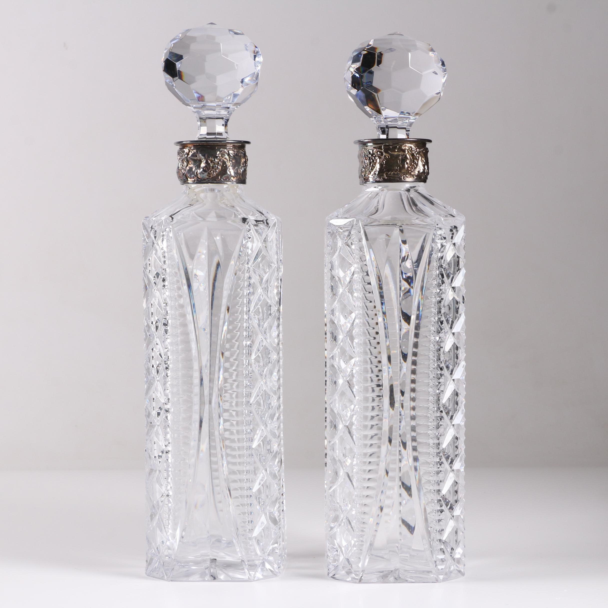 Cut Crystal Decanters with Silver Plate Grapevine Motif Collars