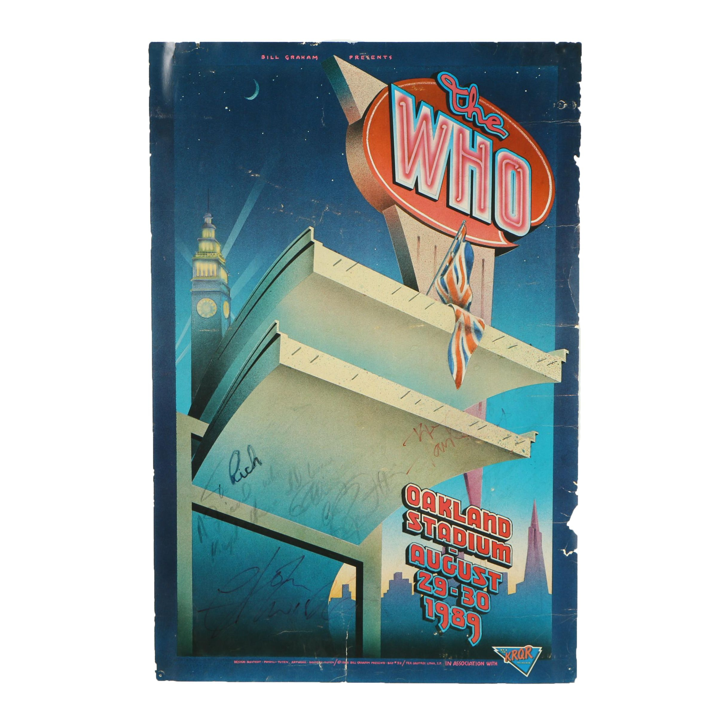 The Who Concert Poster After Randy Tuten and William Bostedt Signed by The Band