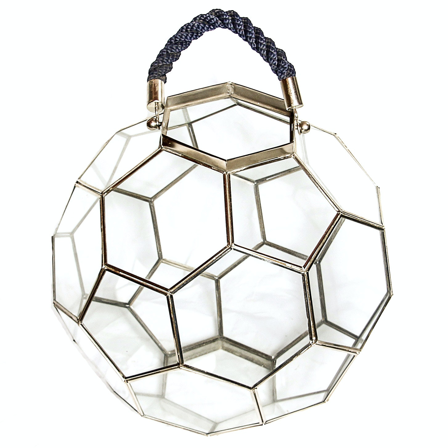Large Glass and Metal Honeycomb Candle Lantern