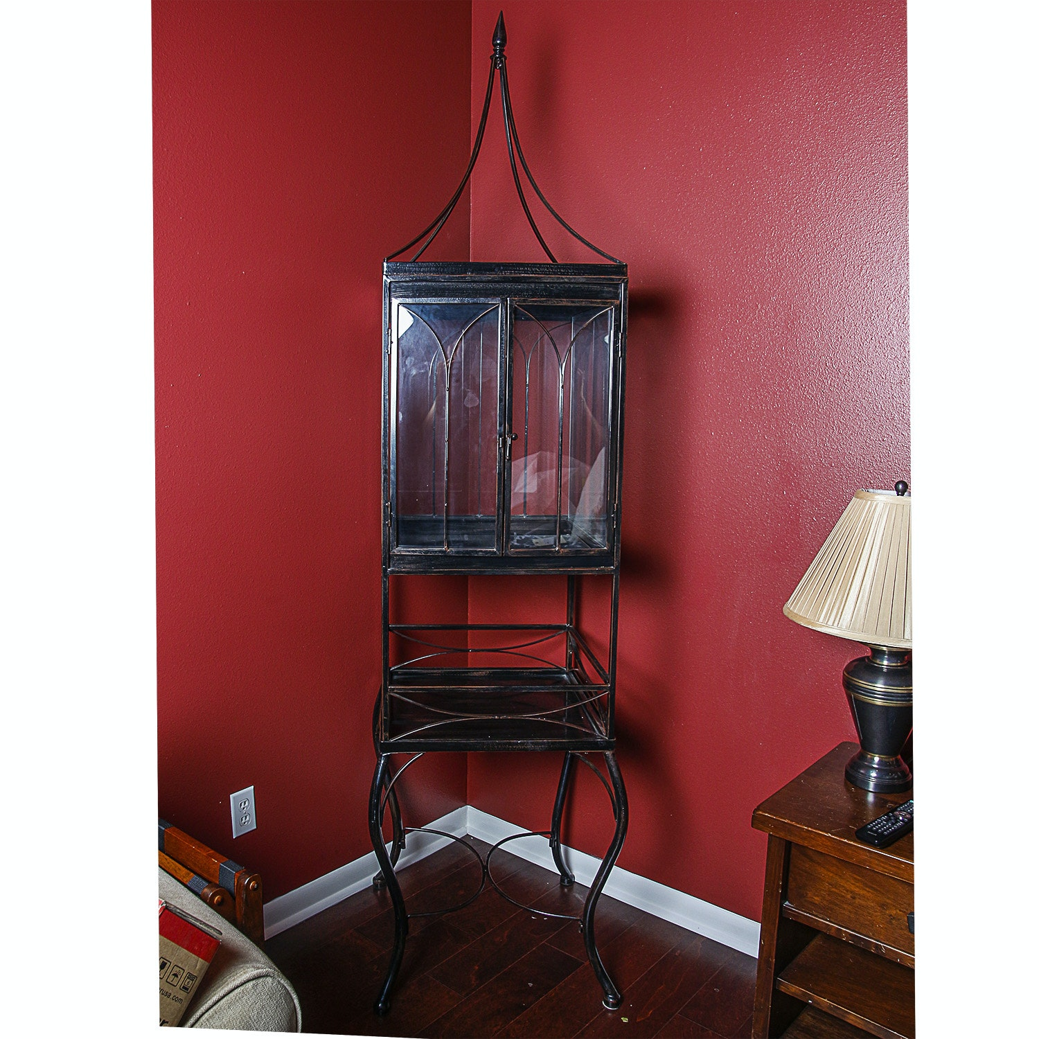 Gothic Revival Style Highboy Display Cabinet