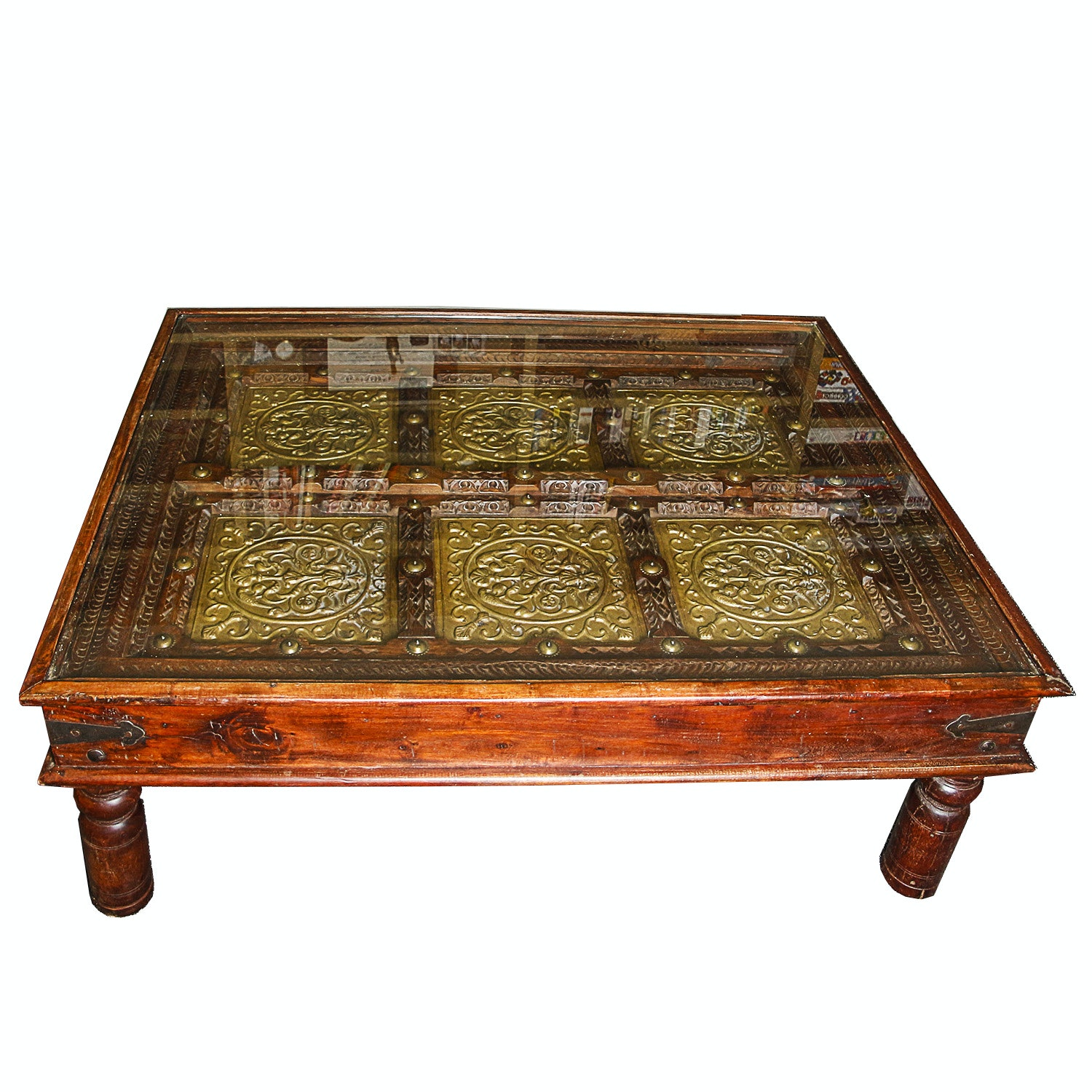 Vintage British Indian Inspired Glass Top Coffee Table