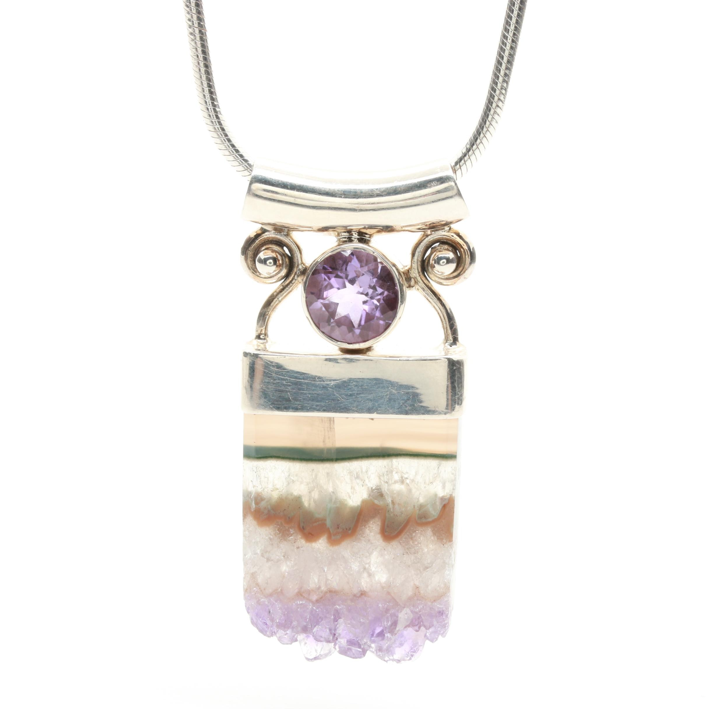 Sterling Silver Geode Slice and Amethyst Necklace