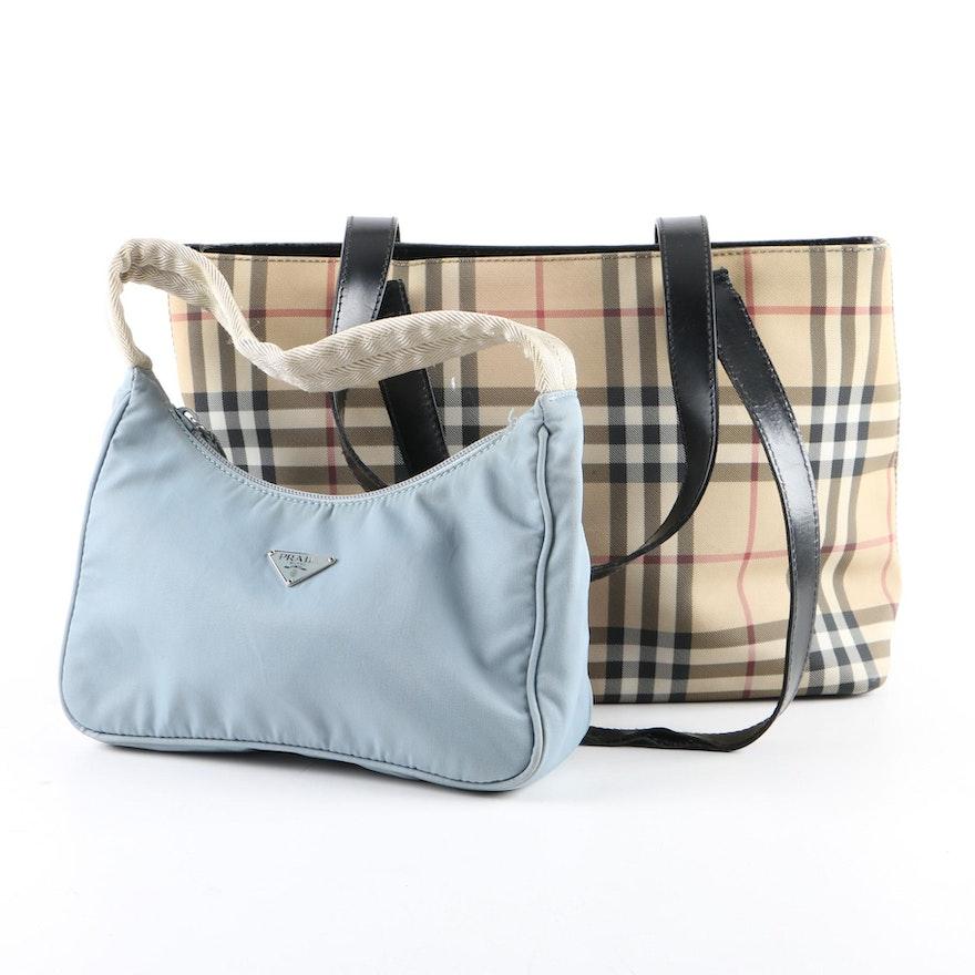 """Burberry London """"Nova Check"""" Tote Bag and Prada Nylon Handbag   EBTH d7015ce7ed6cd"""