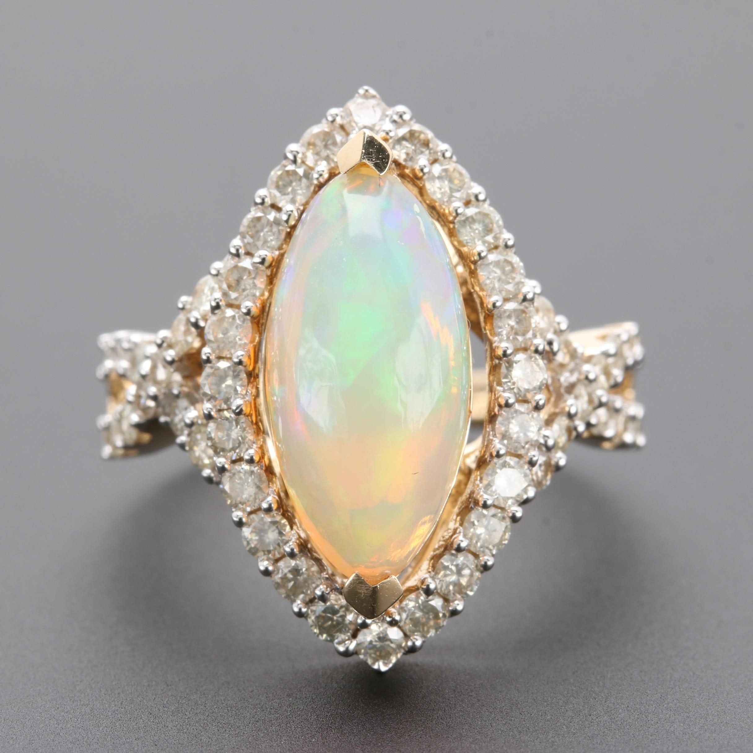14K Yellow Gold Opal and 0.96 CT Diamond Ring