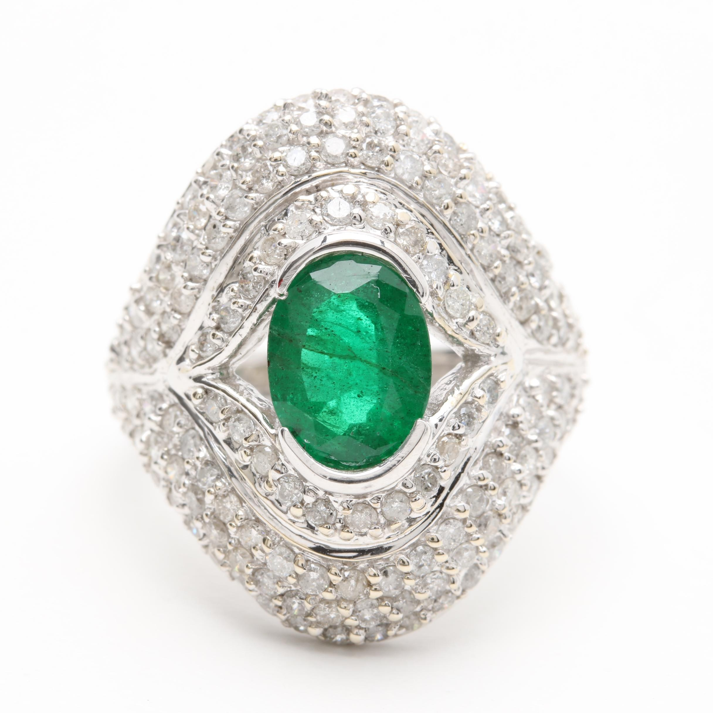 14K White Gold 1.27 CT Emerald and 1.25 CTW Diamond Ring