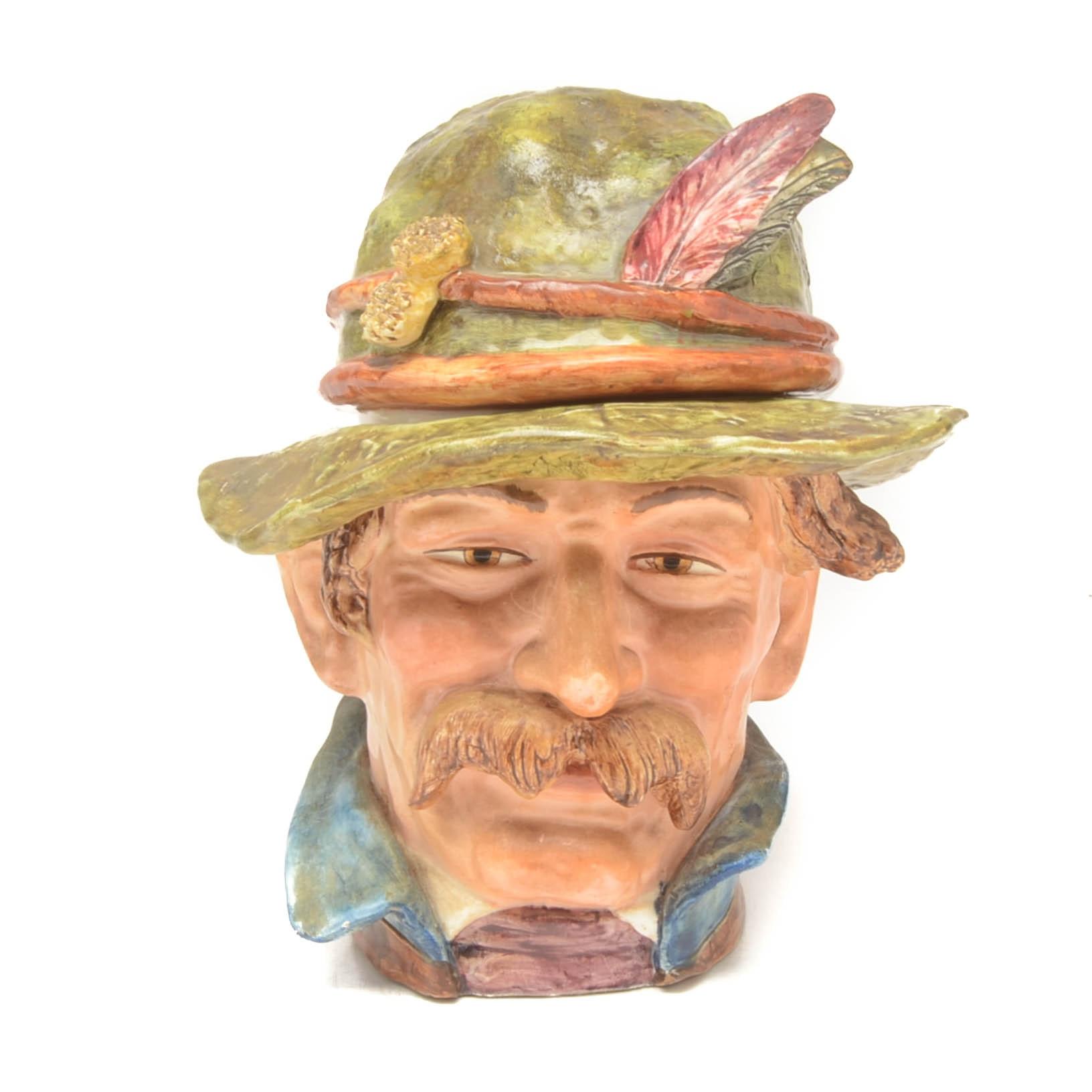 Vintage Majolica Style Figural Ceramic Humidor
