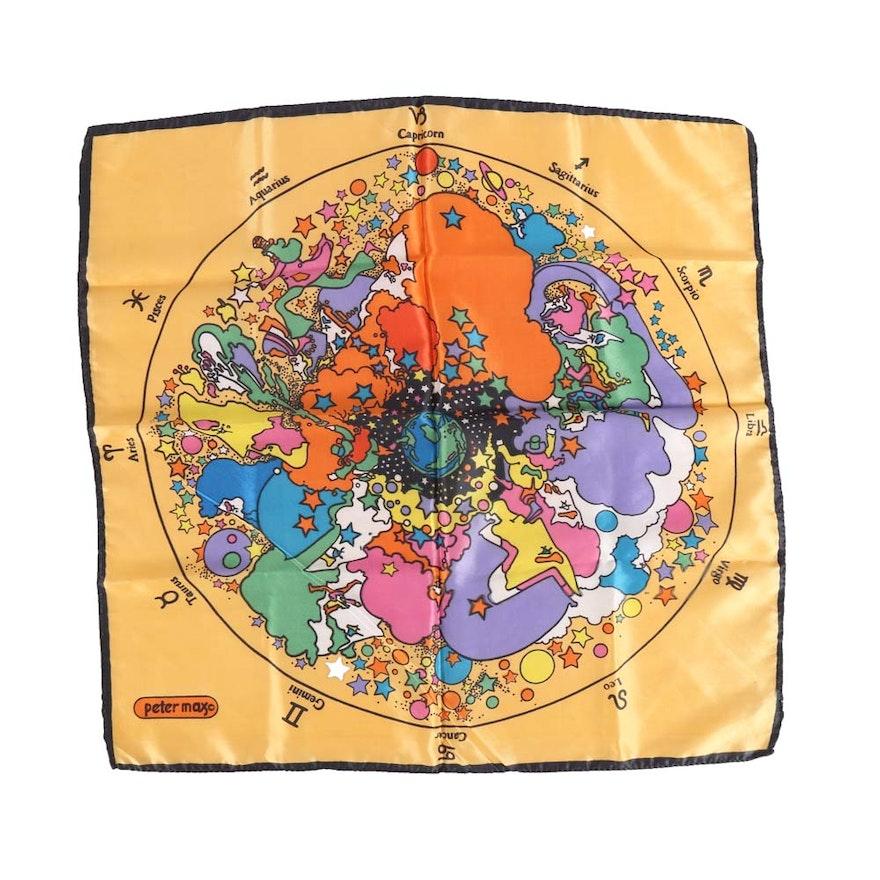 "1add86ca6963 Peter Max ""Astrological"" Multicolored Scarf   EBTH"