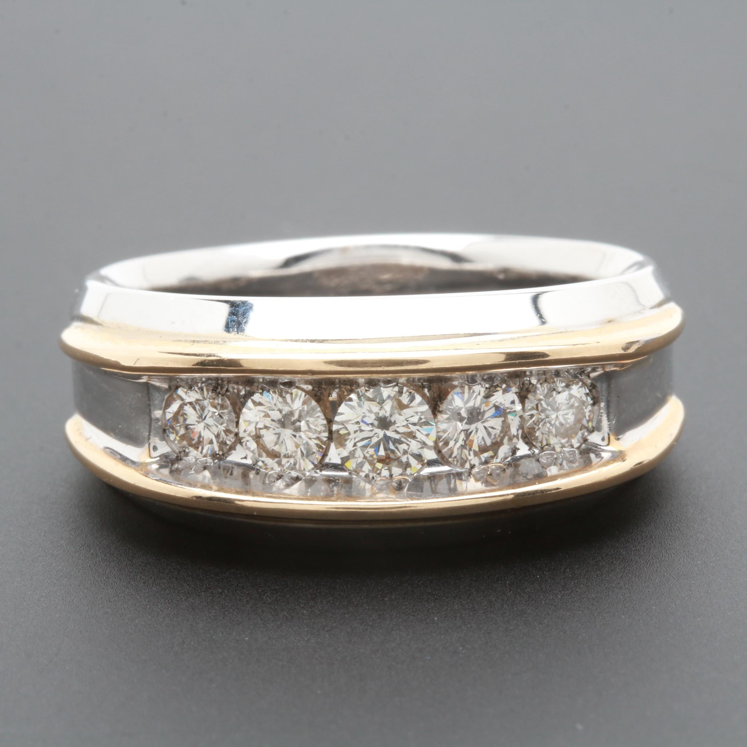 IBGoodman 14K White Gold 0.96 CTW Diamond Ring with White Gold Accents