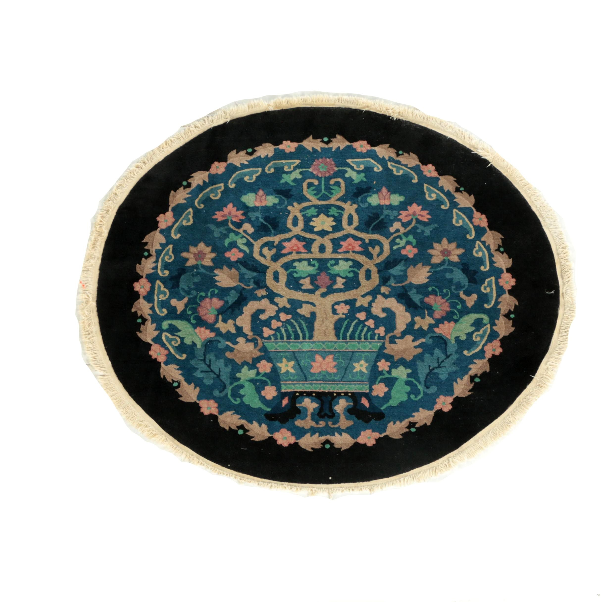 "Semi-Antique Hand-Knotted Tibetan ""Vase"" Oval Area Rug"