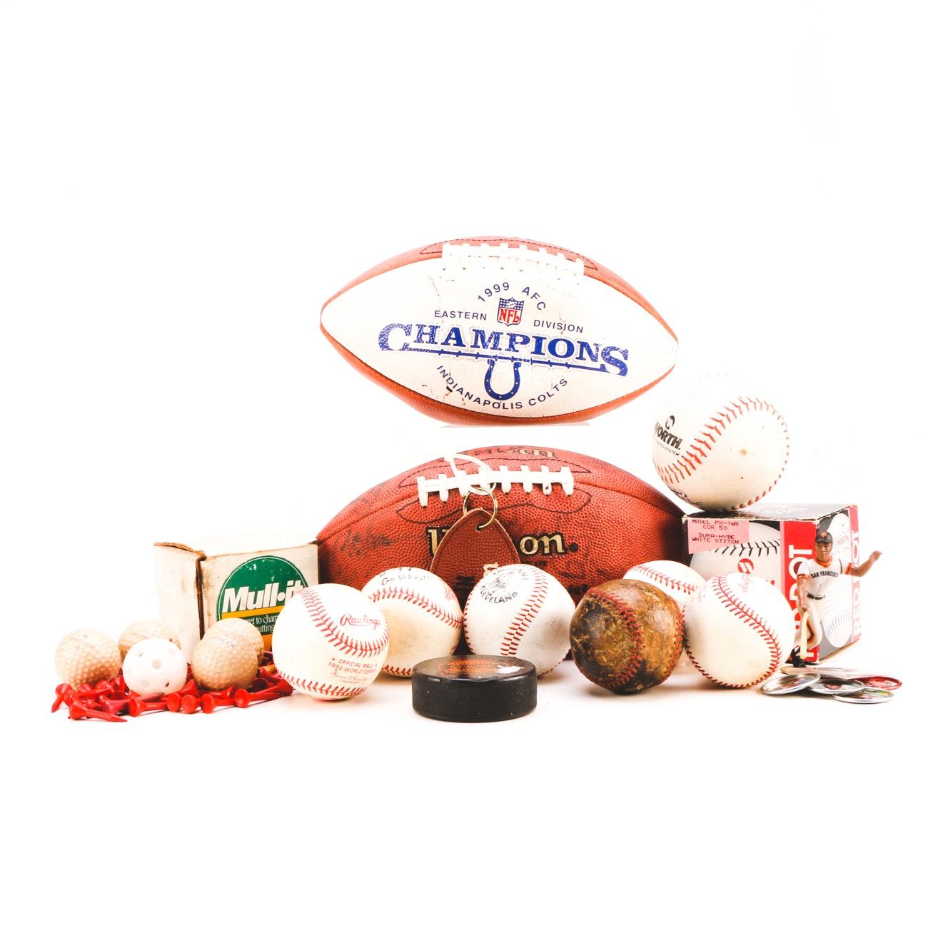 Assorted Baseball, Football, Golf, and Hockey Collectibles