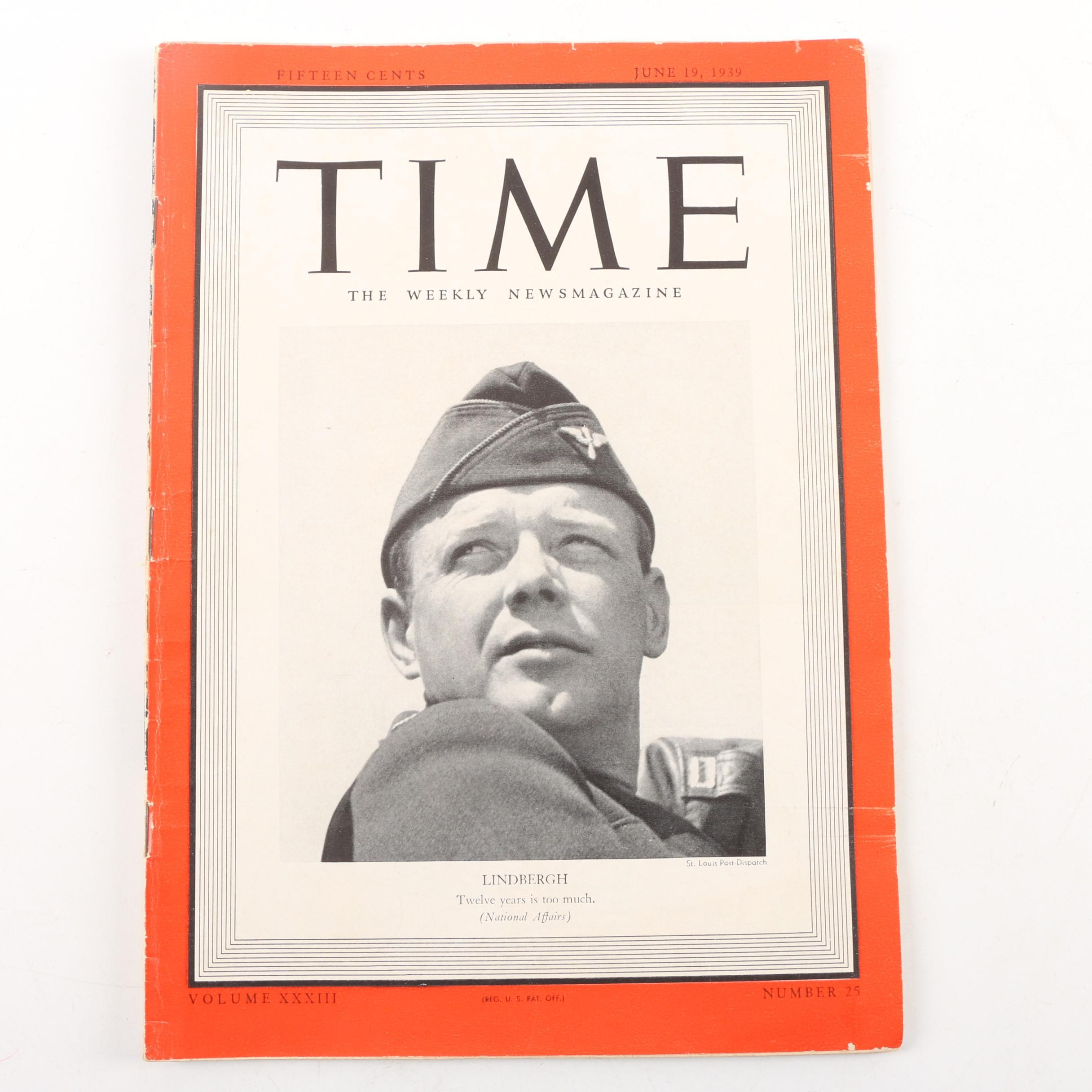 "June 19, 1939 ""Time"" Magazine Featuring Charles A. Lindbergh"