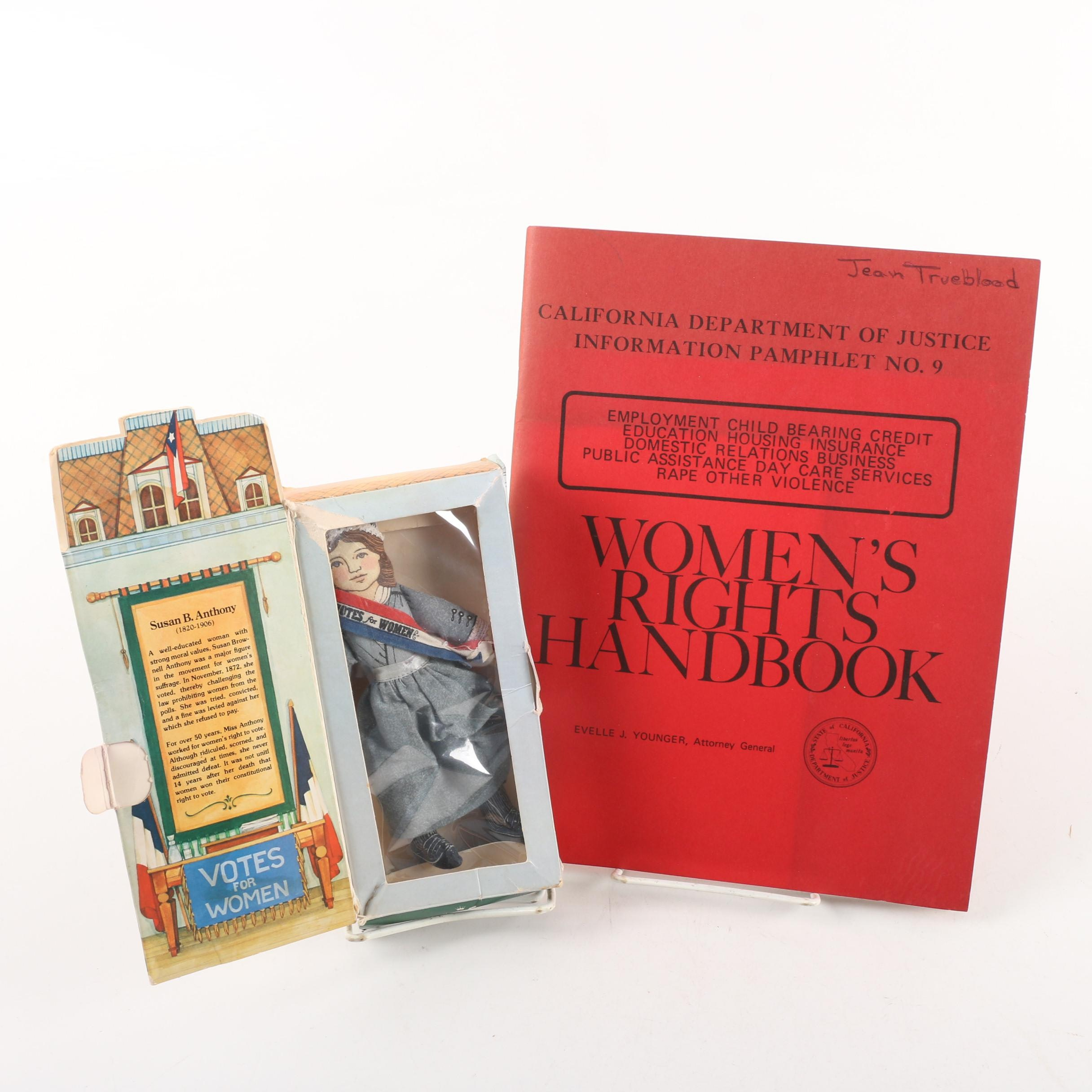 "Californian ""Women's Rights Handbook"" with Susan B. Anthony Doll"