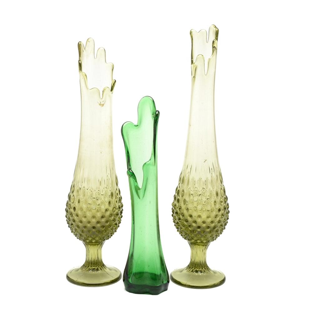 Mid Century Art Glass Swung Vases including Fenton