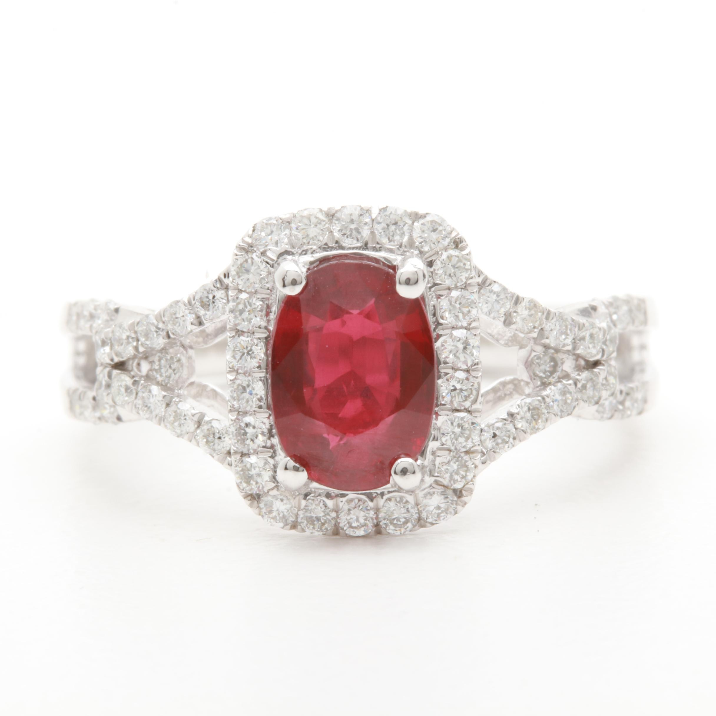 Platinum 1.43 CT Ruby and Diamond Ring with GIA Report