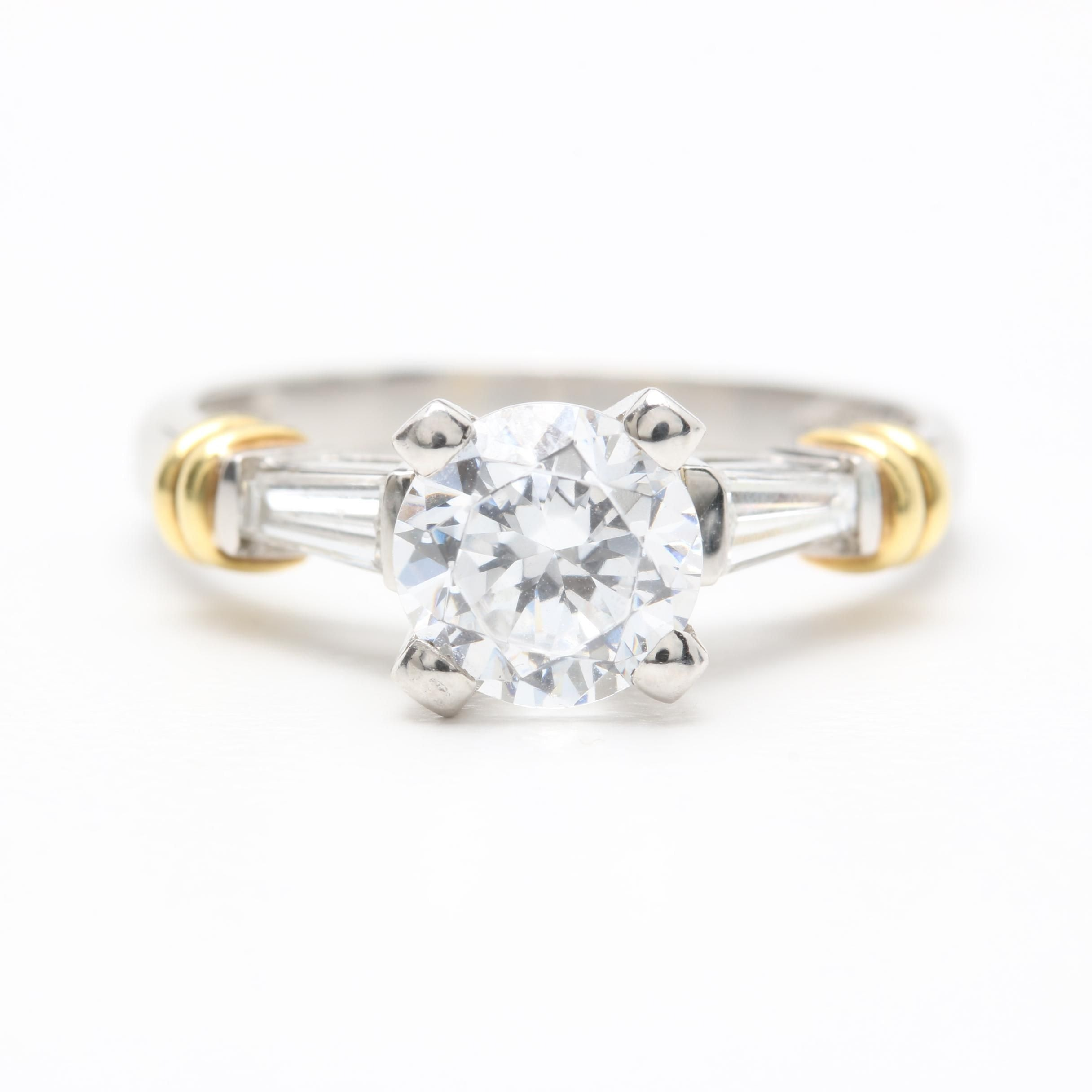 Scott Kay Platinum Diamond Semi-Mount Ring with Cubic Zirconia and 18K Accents