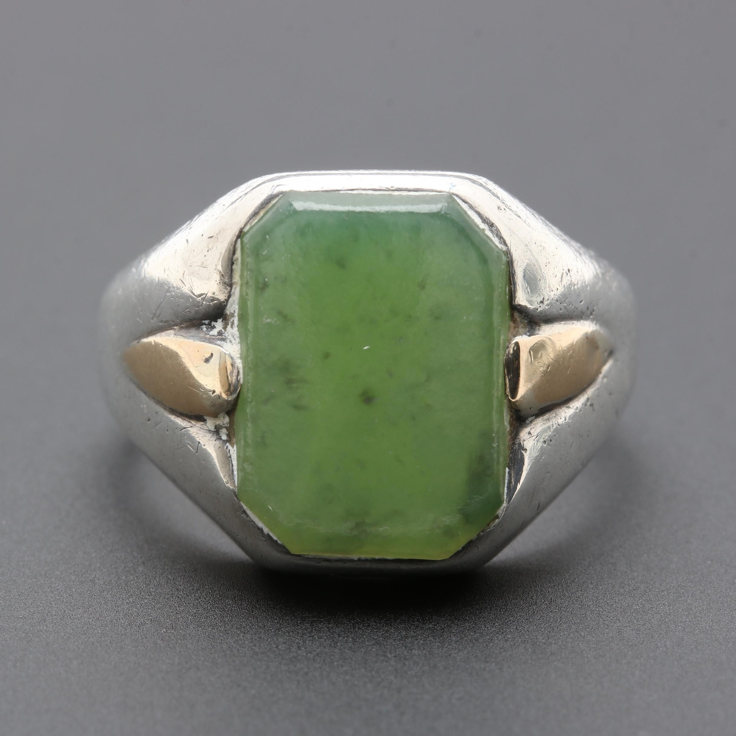 Vintage Sterling Silver Nephrite Ring with Gold Wash Accents