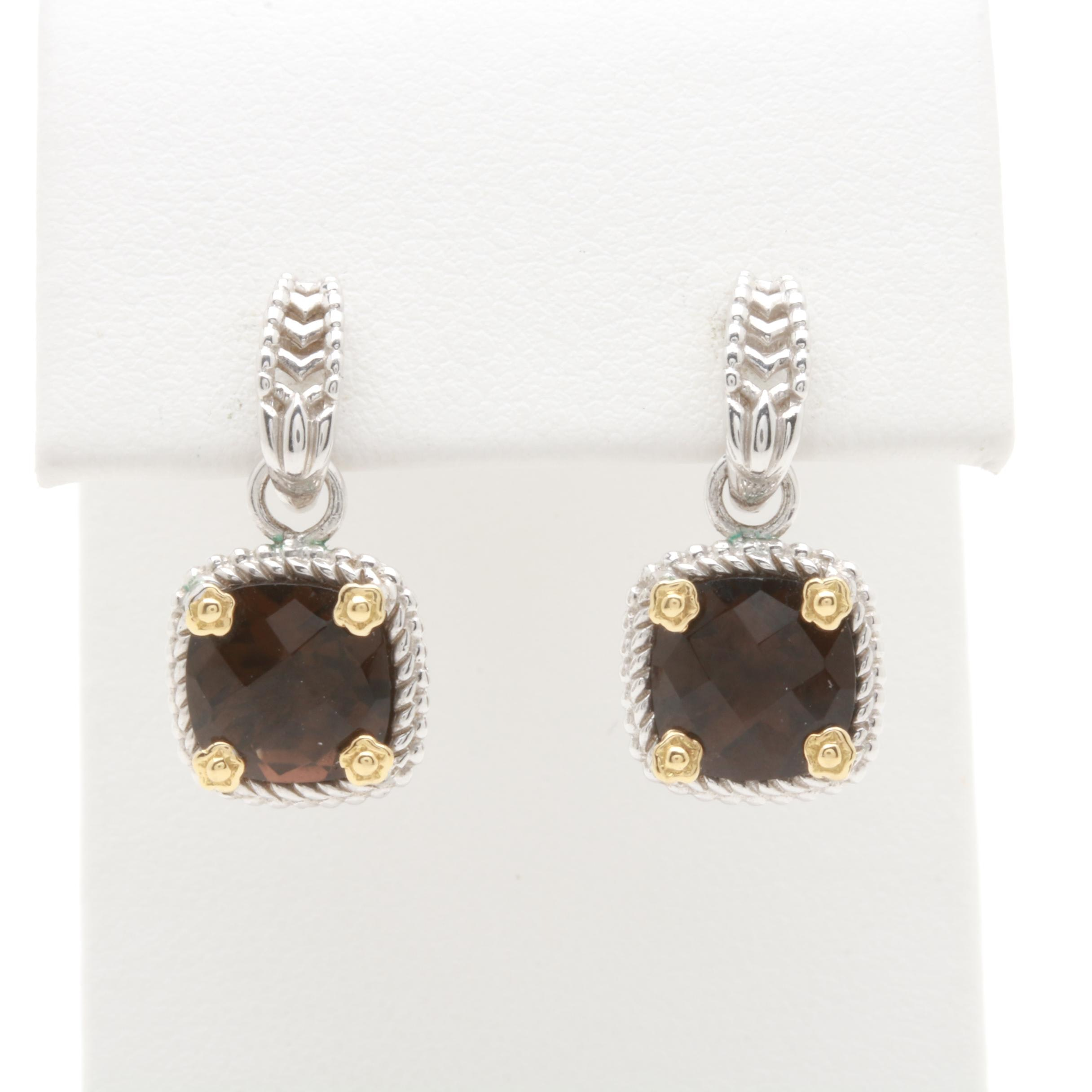 Sterling Silver Smoky Quartz Earrings with 18K Yellow Gold Accents