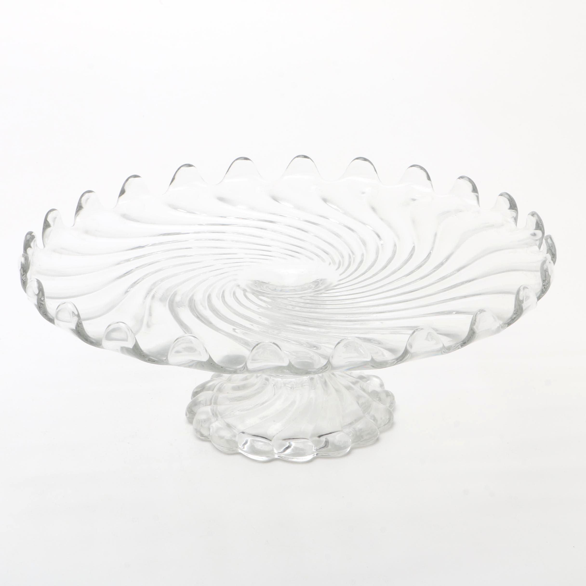Vintage Swirled Glass Cake Stand