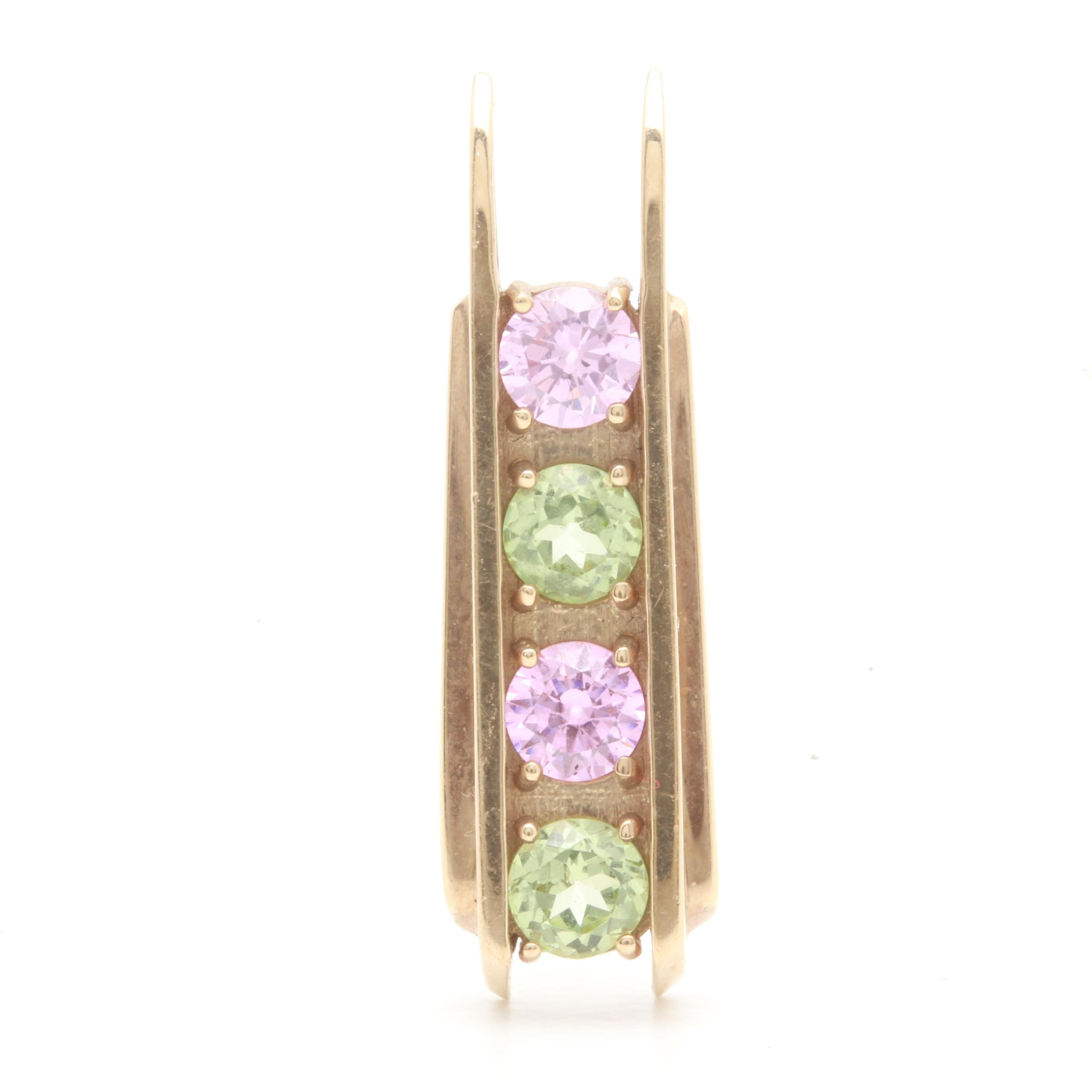 10K Yellow Gold Pink Cubic Zirconia and Synthetic Green Spinel Pendant