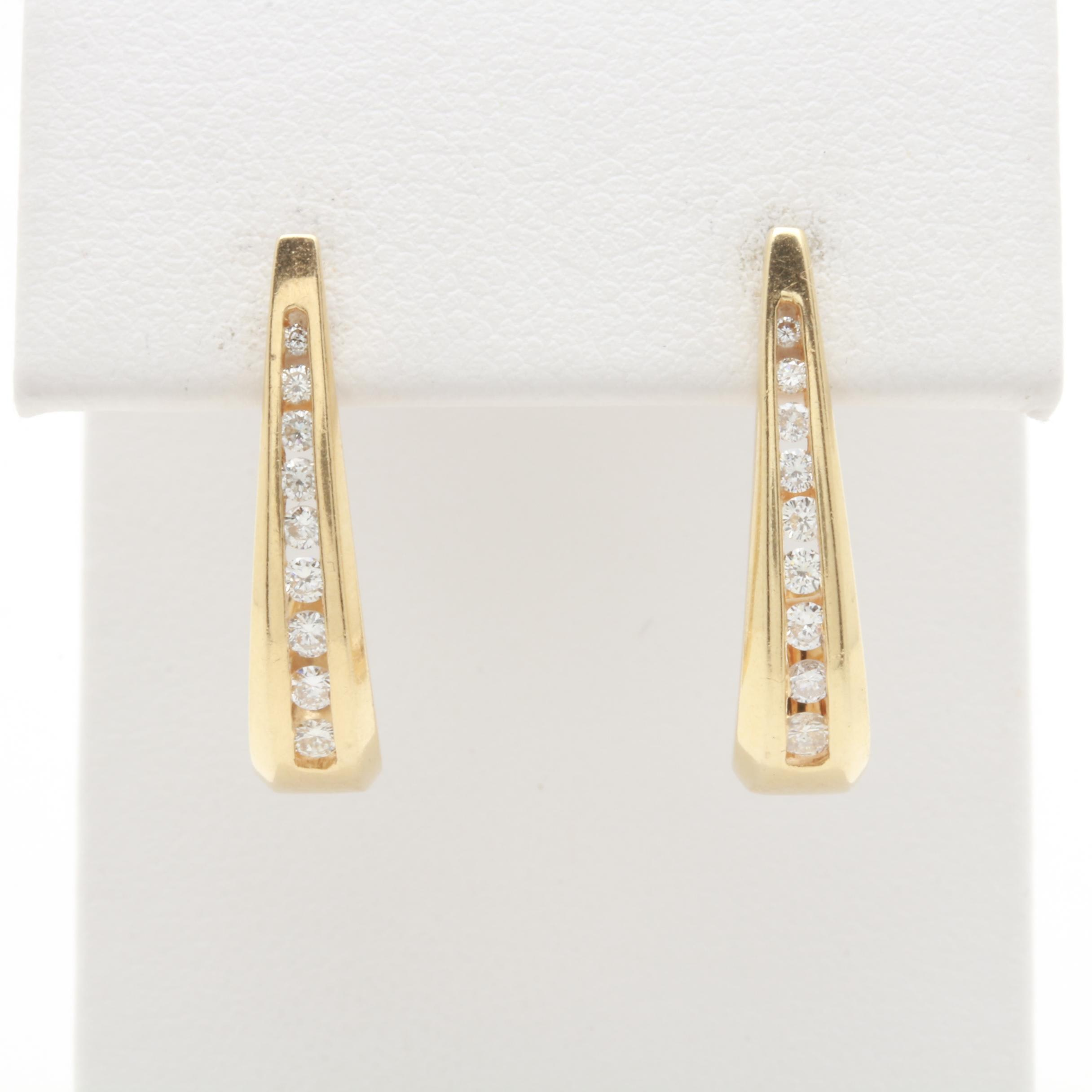 14K Yellow Gold Diamond J-Hoop Earrings