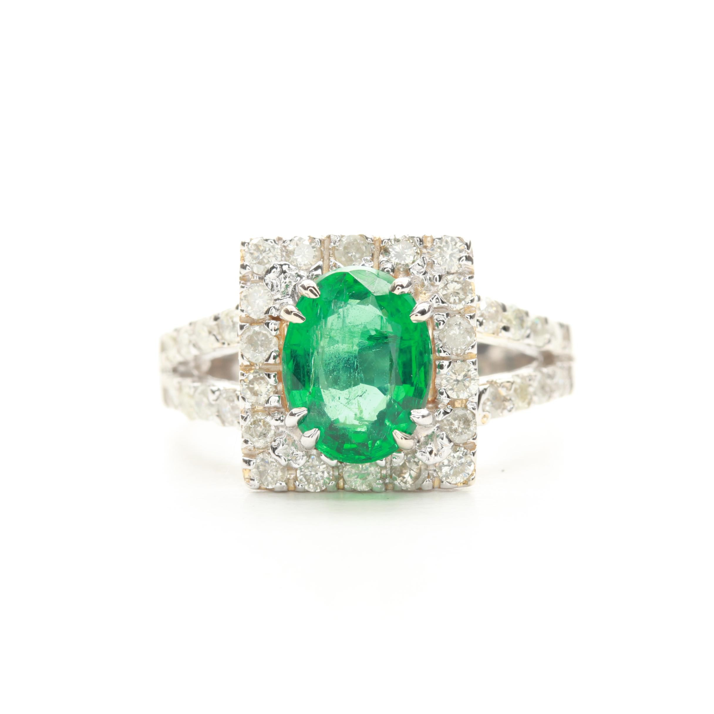 14K White Gold 1.22 CT Emerald and Diamond Ring