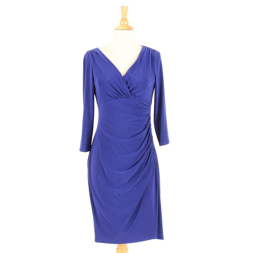 Lauren by Ralph Lauren Blue Ruched Cocktail Dress : EBTH