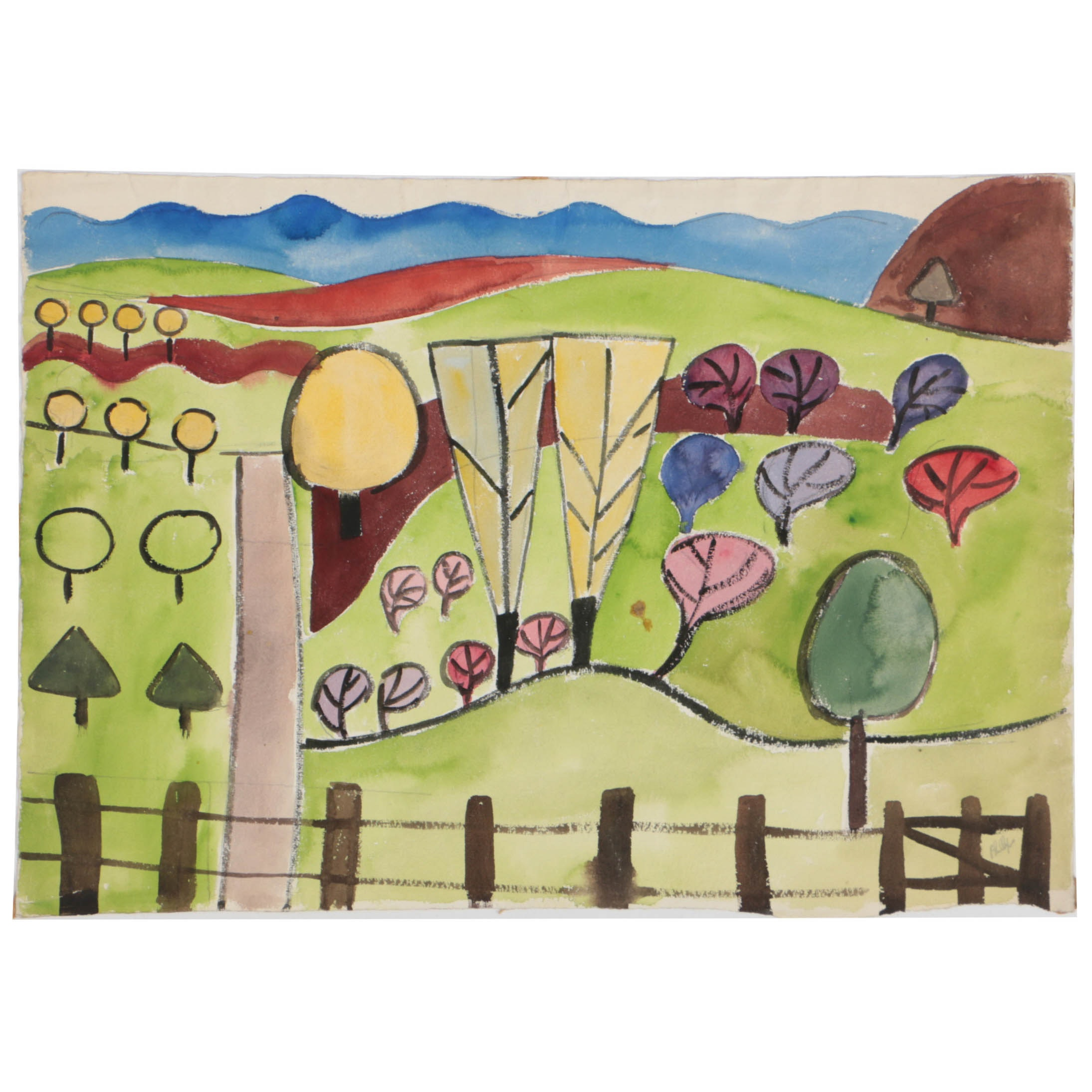 Esther Phillips Watercolor Painting on Paper Abstract Landscape
